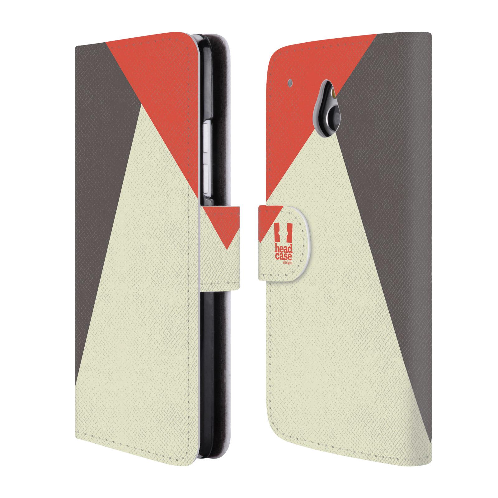 HEAD CASE Flipové pouzdro pro mobil HTC ONE MINI barevné tvary červená a šedá COOL