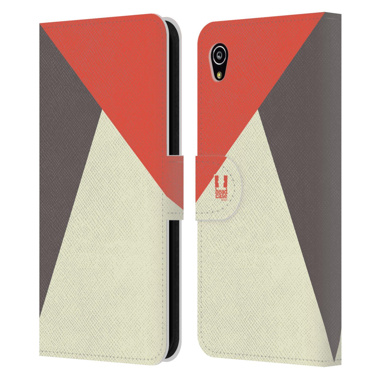HEAD CASE Flipové pouzdro pro mobil SONY Xperia M4 Aqua barevné tvary červená a šedá COOL