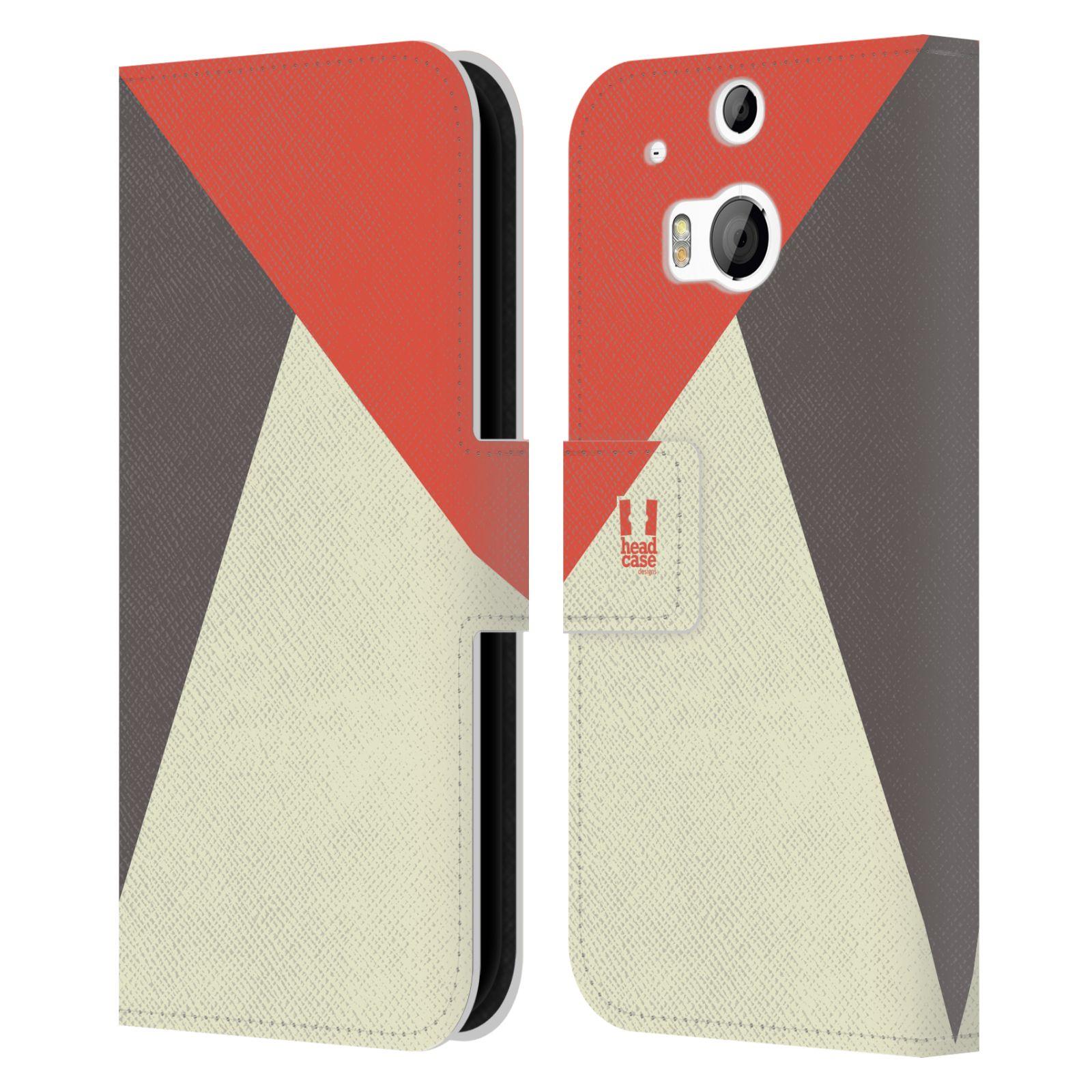 HEAD CASE Flipové pouzdro pro mobil HTC ONE M8/M8s barevné tvary červená a šedá COOL