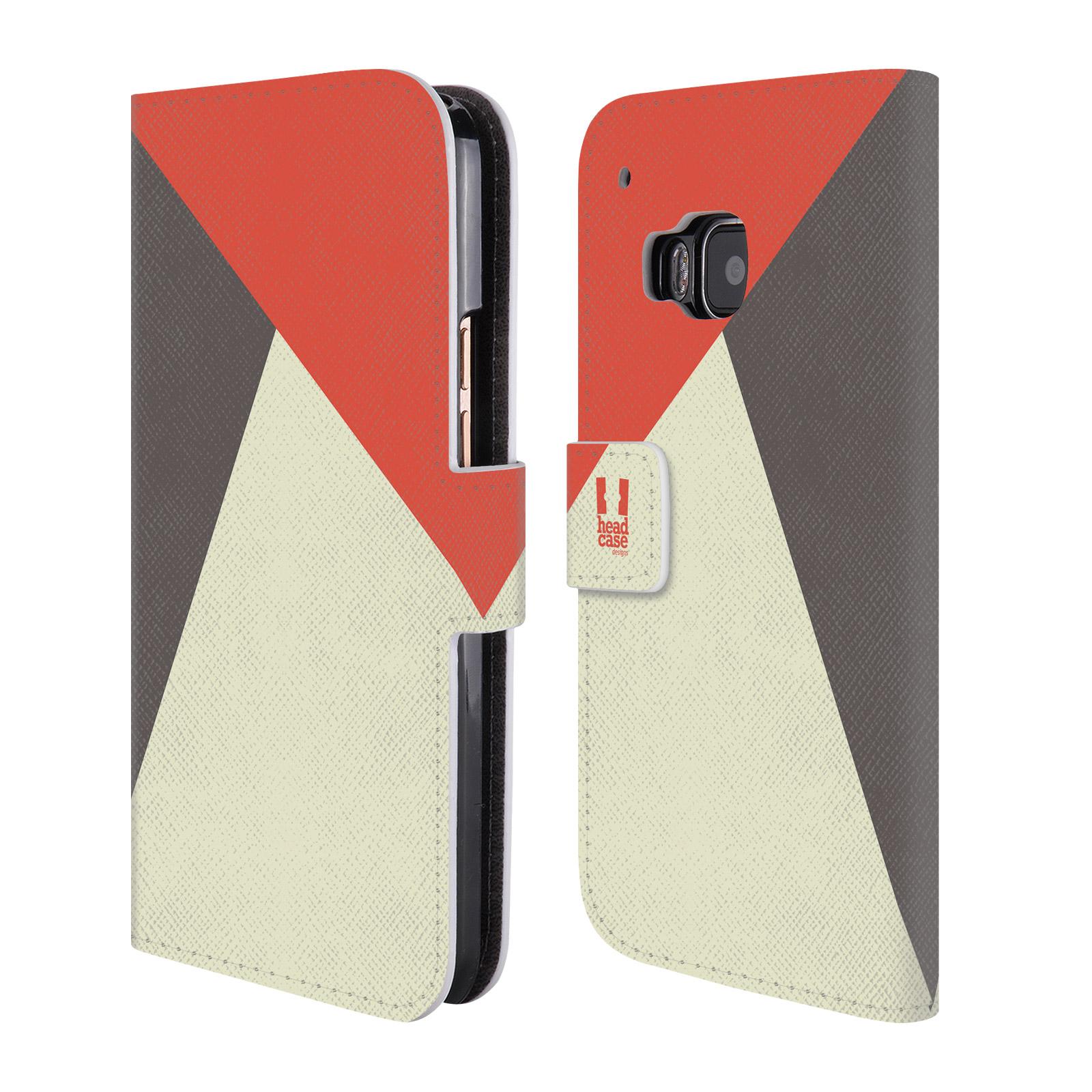HEAD CASE Flipové pouzdro pro mobil HTC ONE M9 barevné tvary červená a šedá COOL