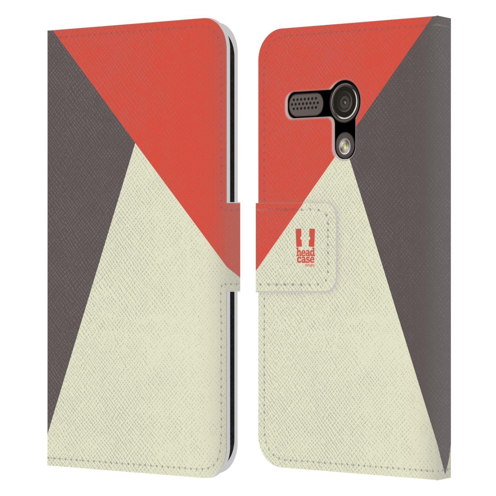 HEAD CASE Flipové pouzdro pro mobil Motorola MOTO G barevné tvary červená a šedá COOL