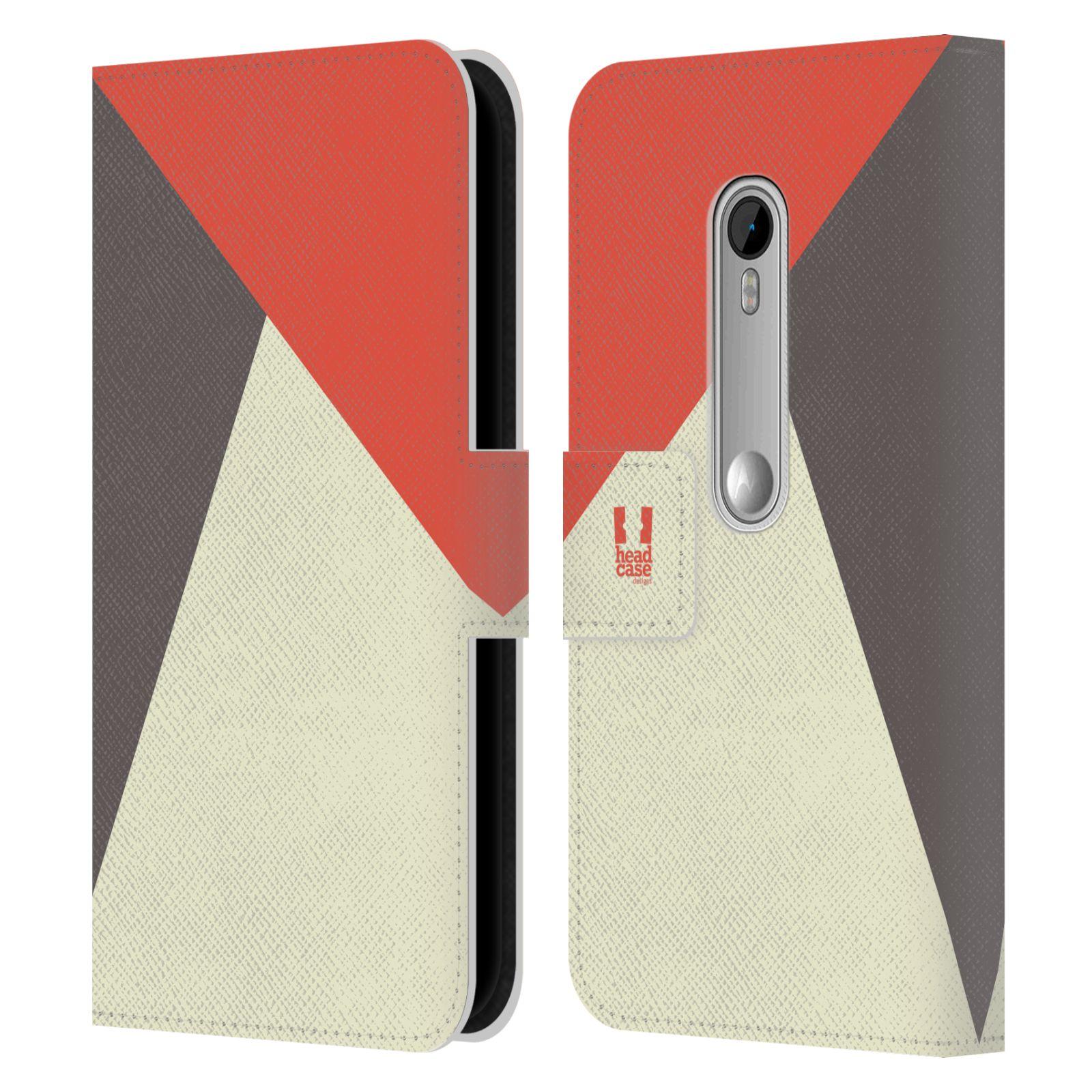 HEAD CASE Flipové pouzdro pro mobil Motorola MOTO G 3RD GENERATION barevné tvary červená a šedá COOL