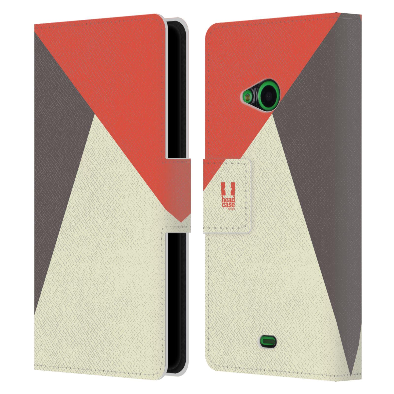 HEAD CASE Flipové pouzdro pro mobil Nokia LUMIA 535 barevné tvary červená a šedá COOL
