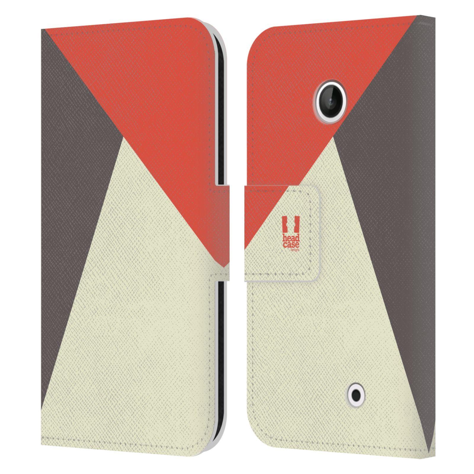 HEAD CASE Flipové pouzdro pro mobil Nokia LUMIA 630/630 DUAL barevné tvary červená a šedá COOL