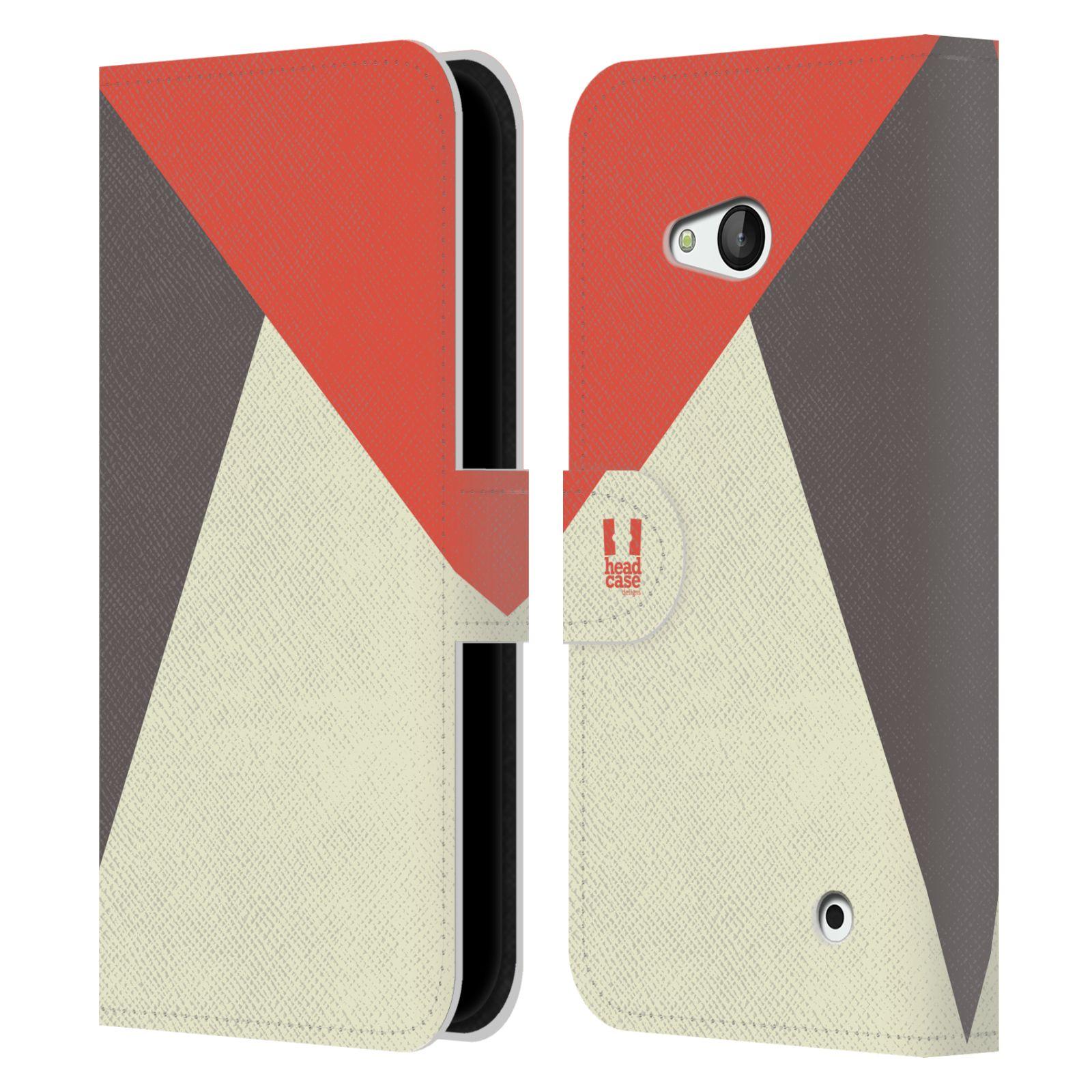 HEAD CASE Flipové pouzdro pro mobil Nokia LUMIA 640 barevné tvary červená a šedá COOL