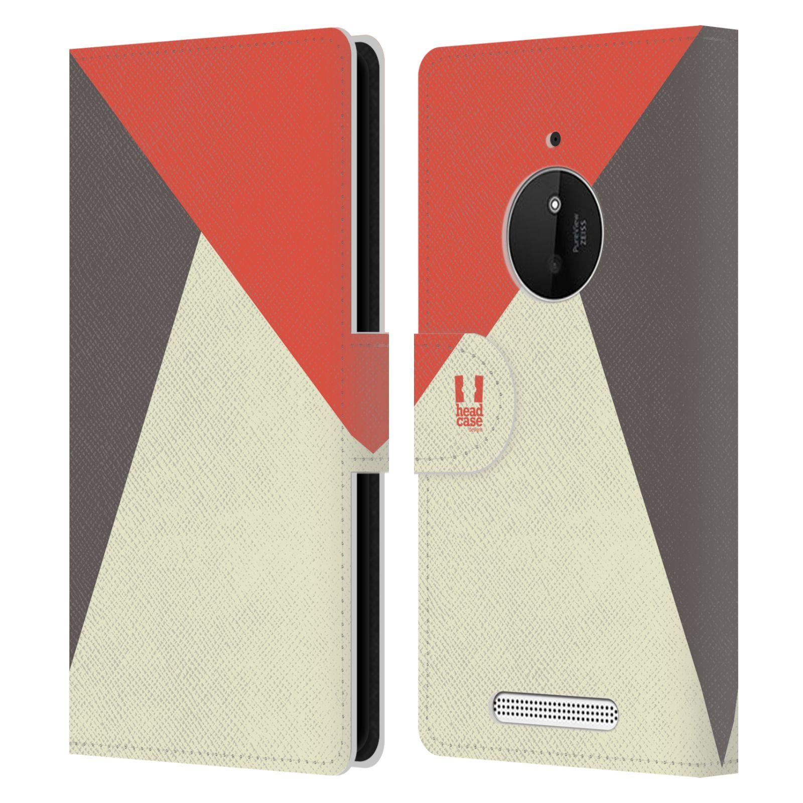 HEAD CASE Flipové pouzdro pro mobil Nokia LUMIA 830 barevné tvary červená a šedá COOL
