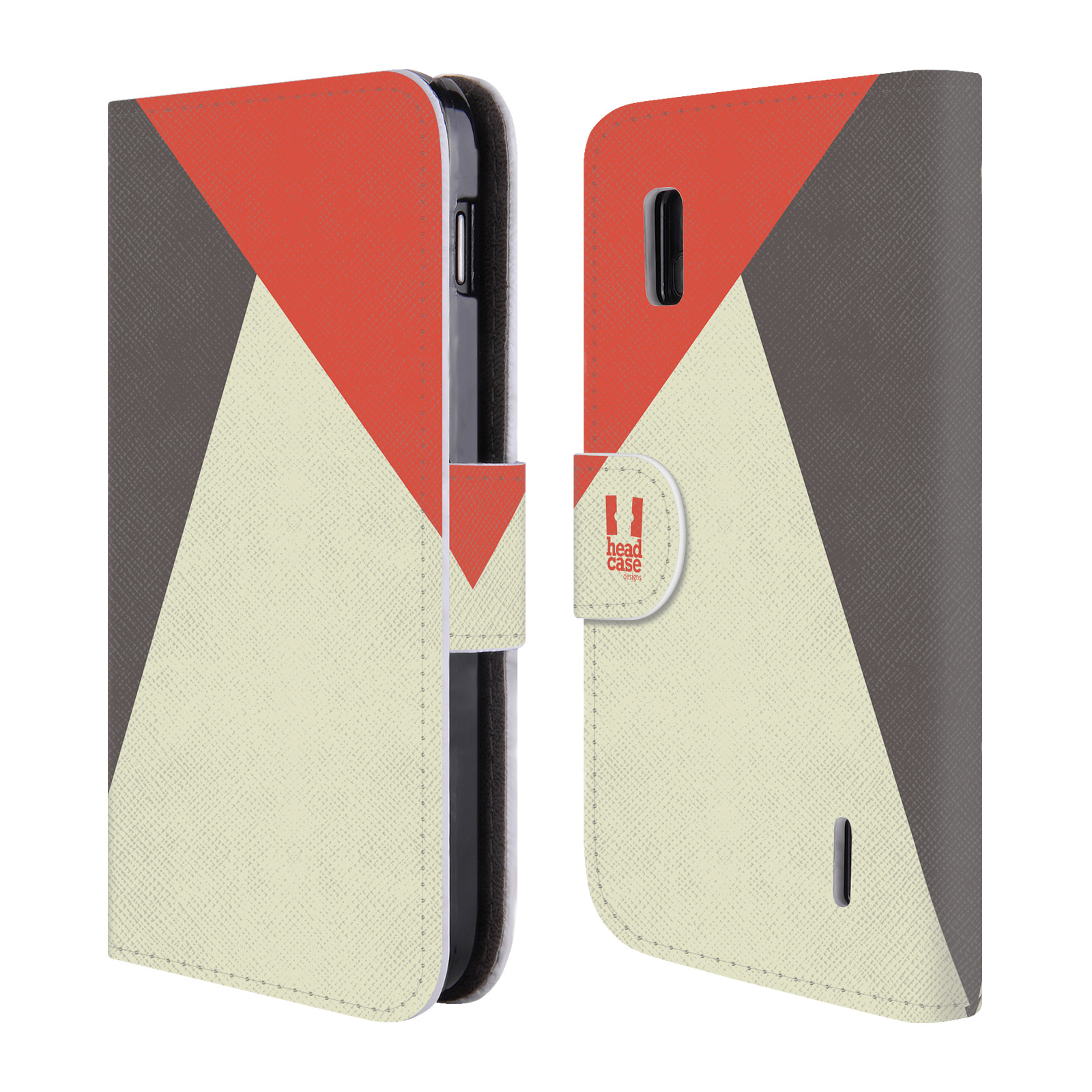 HEAD CASE Flipové pouzdro pro mobil LG NEXUS 4 barevné tvary červená a šedá COOL