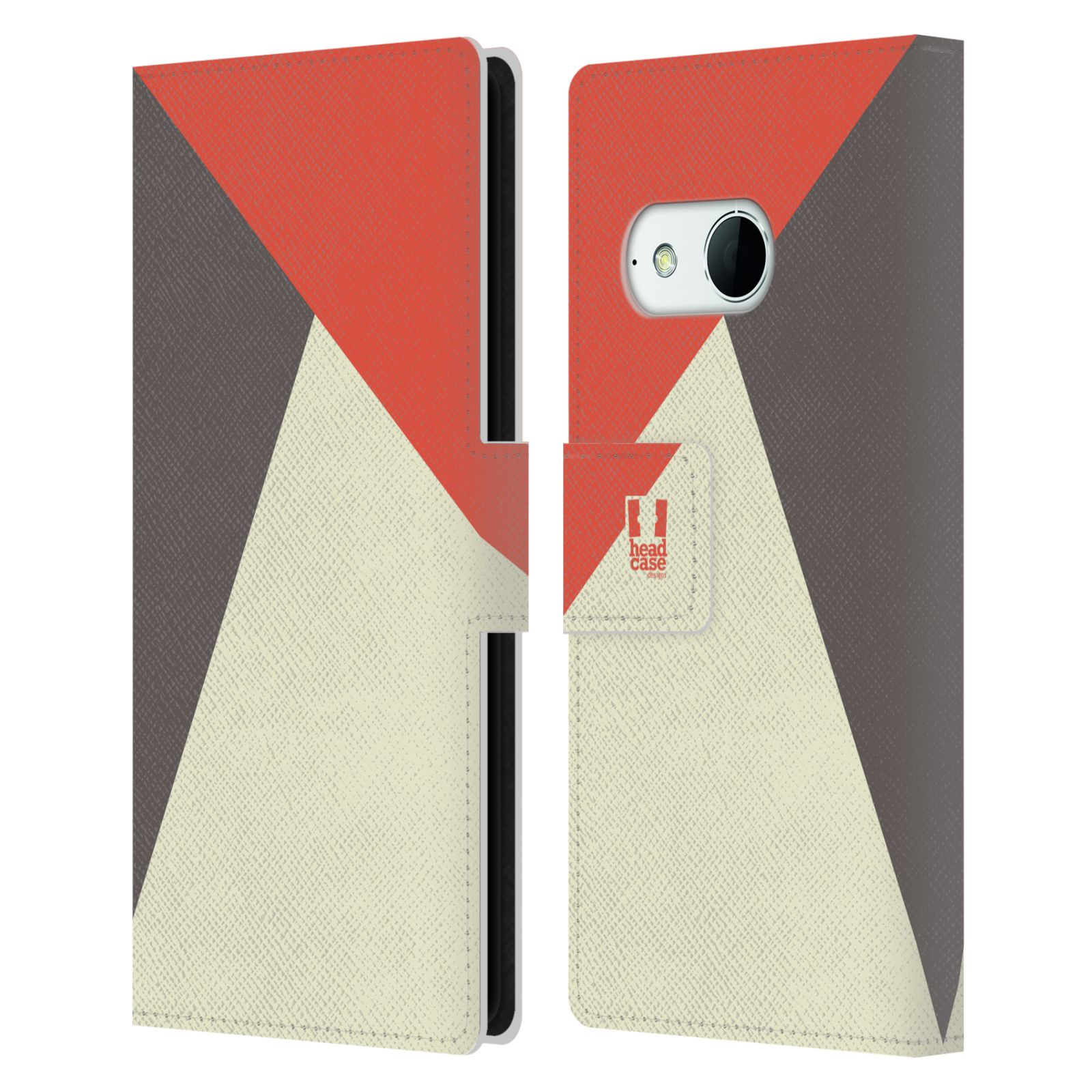 HEAD CASE Flipové pouzdro pro mobil HTC ONE MINI 2 barevné tvary červená a šedá COOL