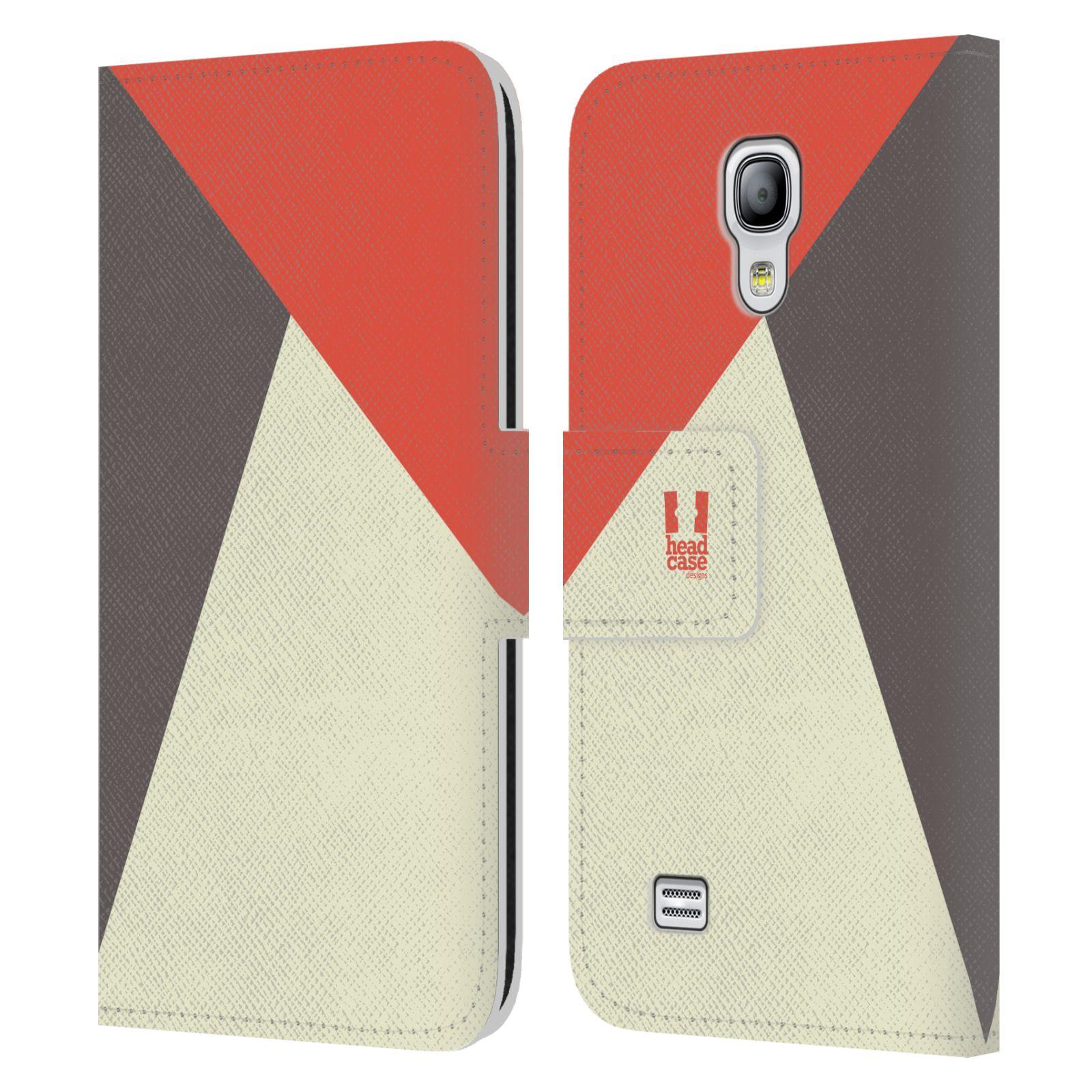 HEAD CASE Flipové pouzdro pro mobil Samsung Galaxy S4 MINI barevné tvary červená a šedá COOL