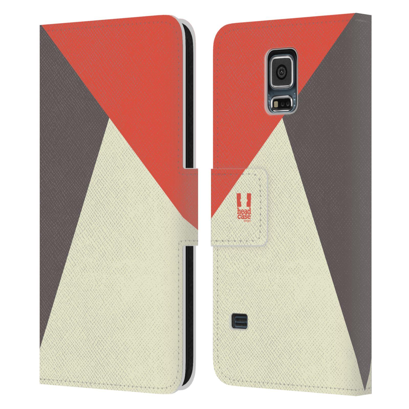 HEAD CASE Flipové pouzdro pro mobil Samsung Galaxy S5 barevné tvary červená a šedá COOL