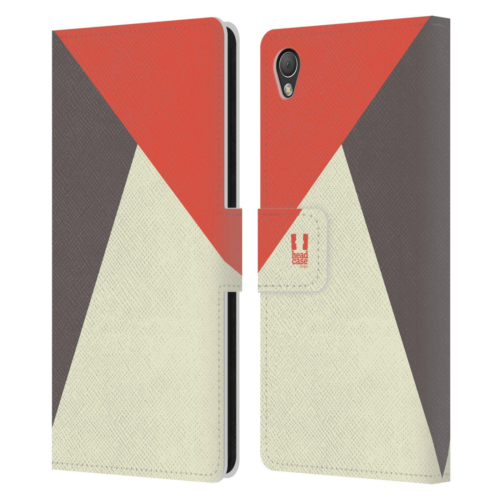 HEAD CASE Flipové pouzdro pro mobil SONY XPERIA Z3 barevné tvary červená a šedá COOL