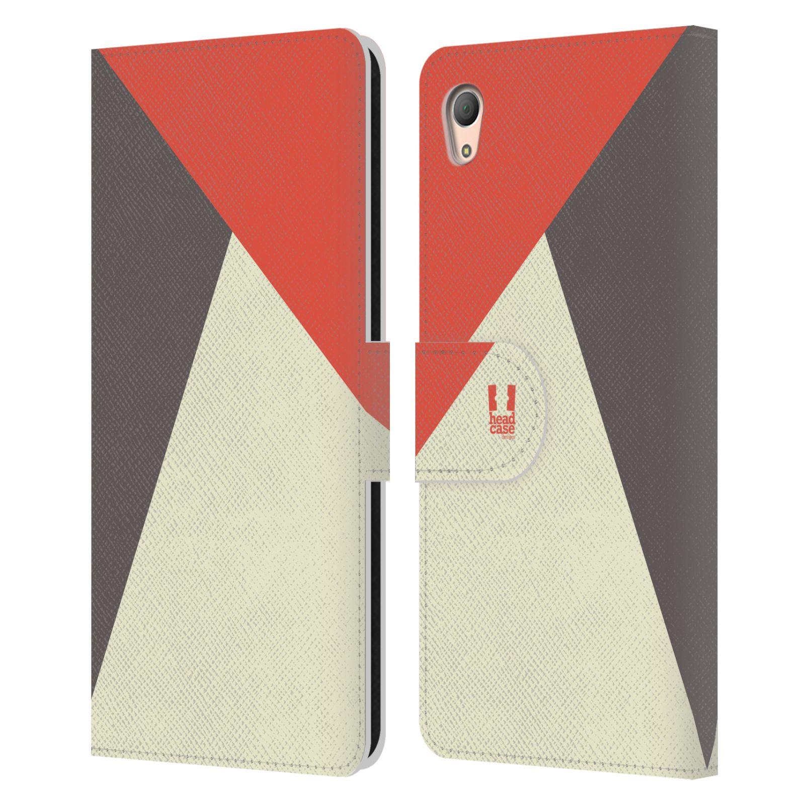 HEAD CASE Flipové pouzdro pro mobil SONY XPERIA Z3+(Z3 PLUS) barevné tvary červená a šedá COOL