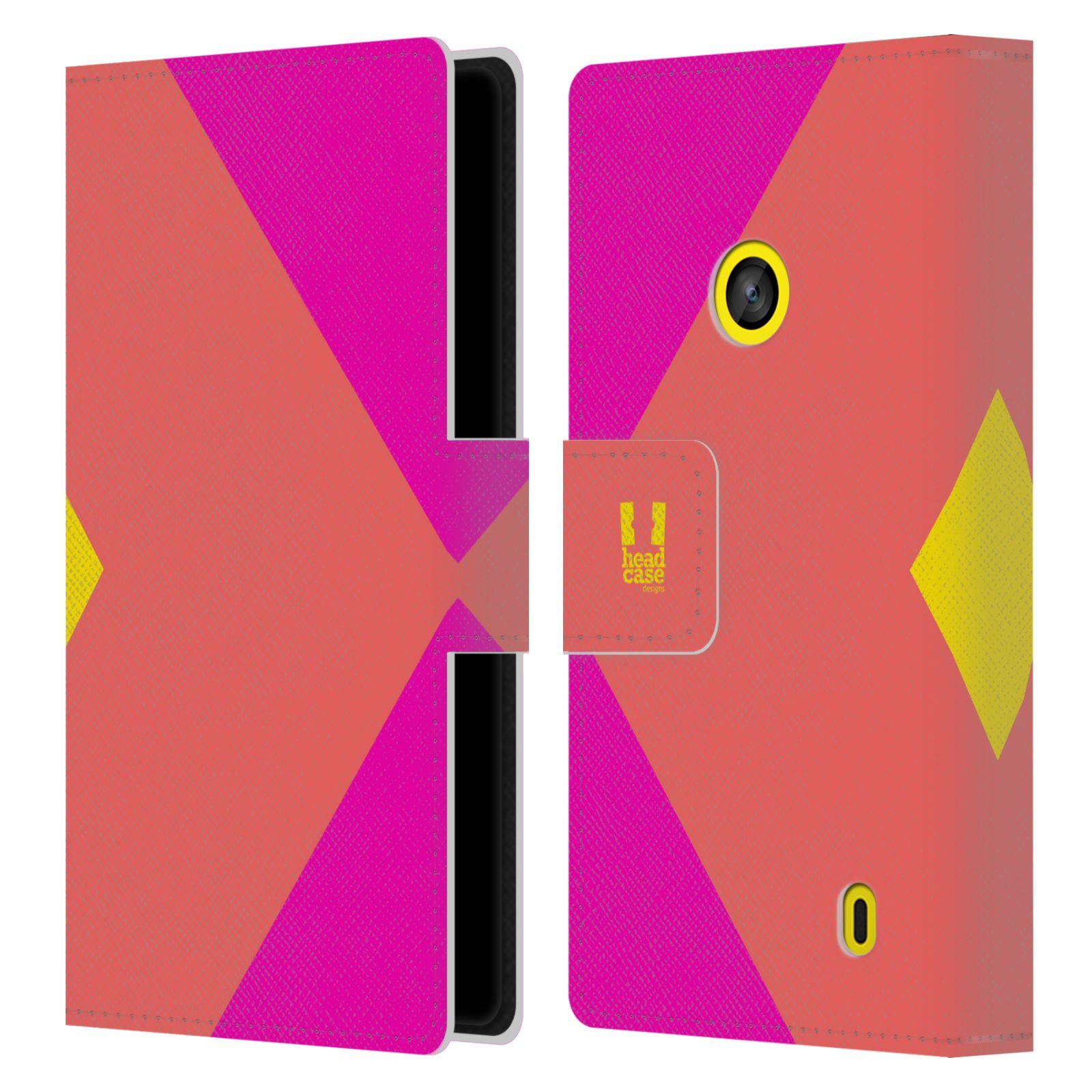 HEAD CASE Flipové pouzdro pro mobil Nokia LUMIA 520/525 barevné tvary růžová korál