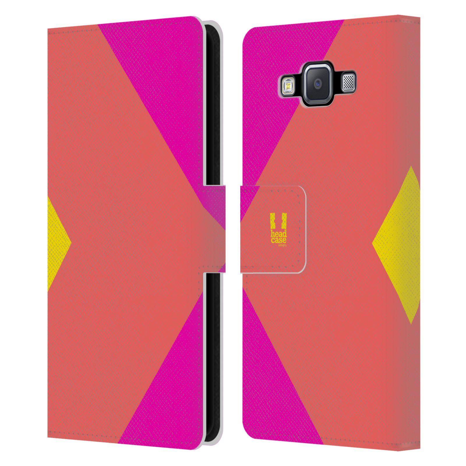 HEAD CASE Flipové pouzdro pro mobil Samsung Galaxy A5 barevné tvary růžová korál