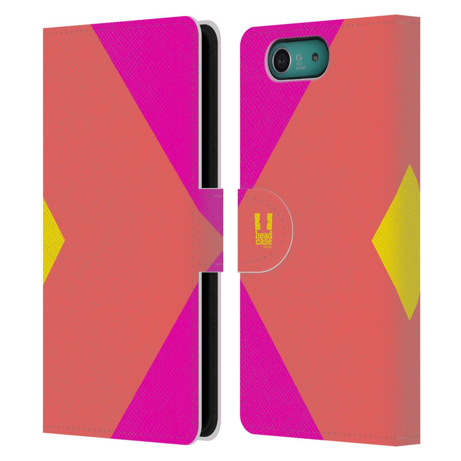 HEAD CASE Flipové pouzdro pro mobil SONY XPERIA Z3 COMPACT barevné tvary růžová korál