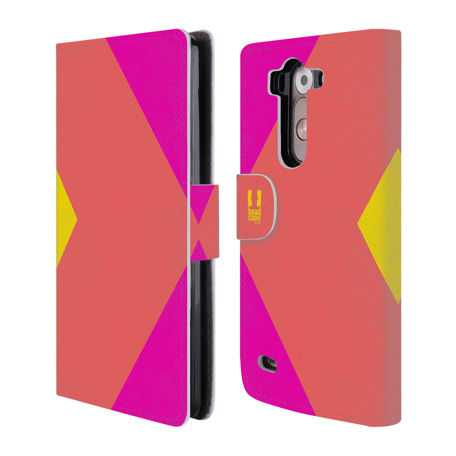 HEAD CASE Flipové pouzdro pro mobil LG G3s barevné tvary růžová korál