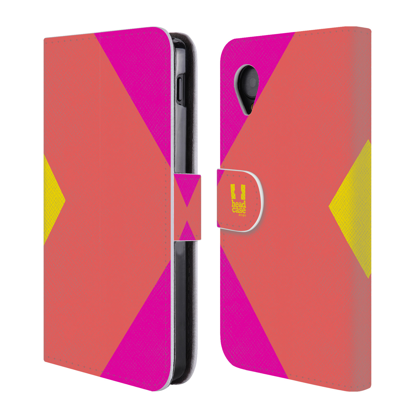 HEAD CASE Flipové pouzdro pro mobil LG GOOGLE NEXUS 5 barevné tvary růžová korál