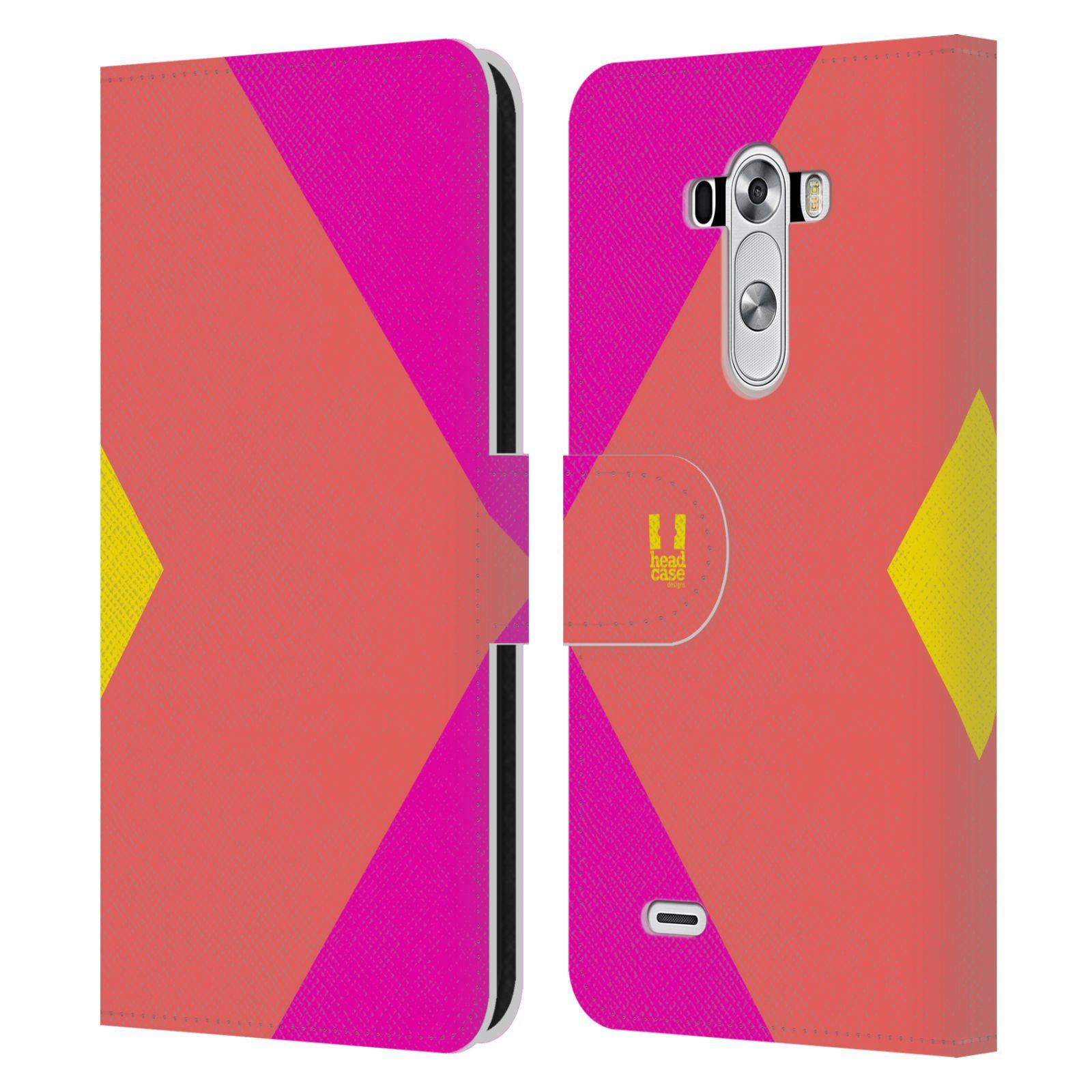 HEAD CASE Flipové pouzdro pro mobil LG G3 barevné tvary růžová korál