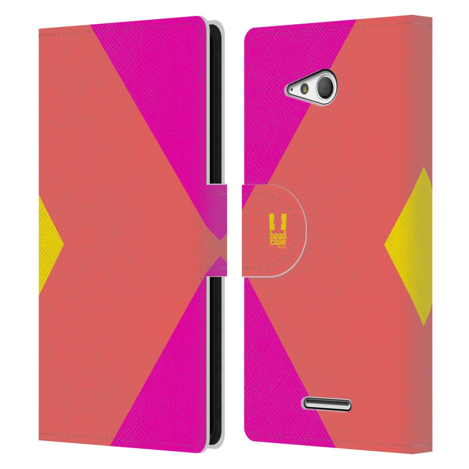 HEAD CASE Flipové pouzdro pro mobil SONY Xperia E4g barevné tvary růžová korál