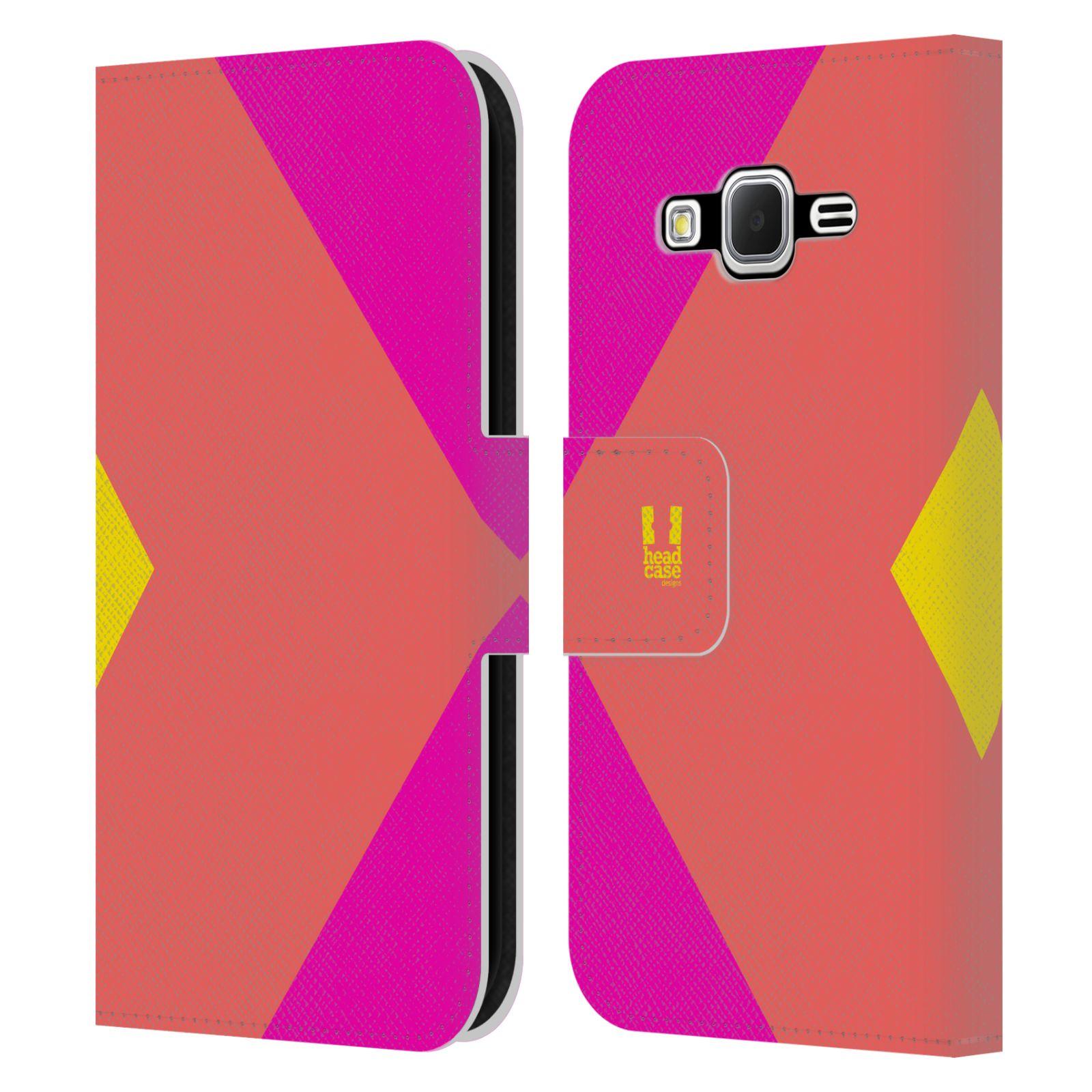 HEAD CASE Flipové pouzdro pro mobil Samsung Galaxy Core Prime barevné tvary růžová korál
