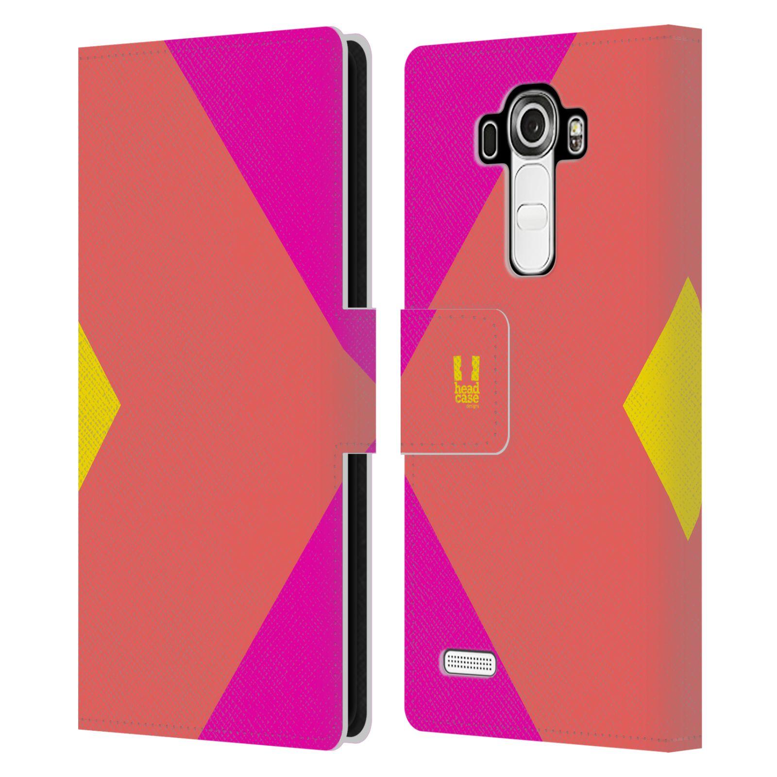 HEAD CASE Flipové pouzdro pro mobil LG G4 barevné tvary růžová korál