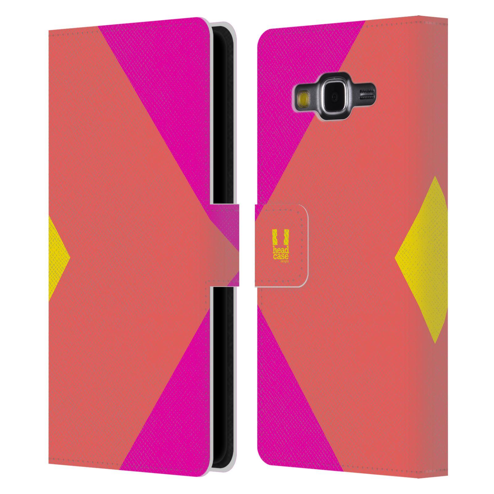 HEAD CASE Flipové pouzdro pro mobil Samsung Galaxy Grand Prime barevné tvary růžová korál