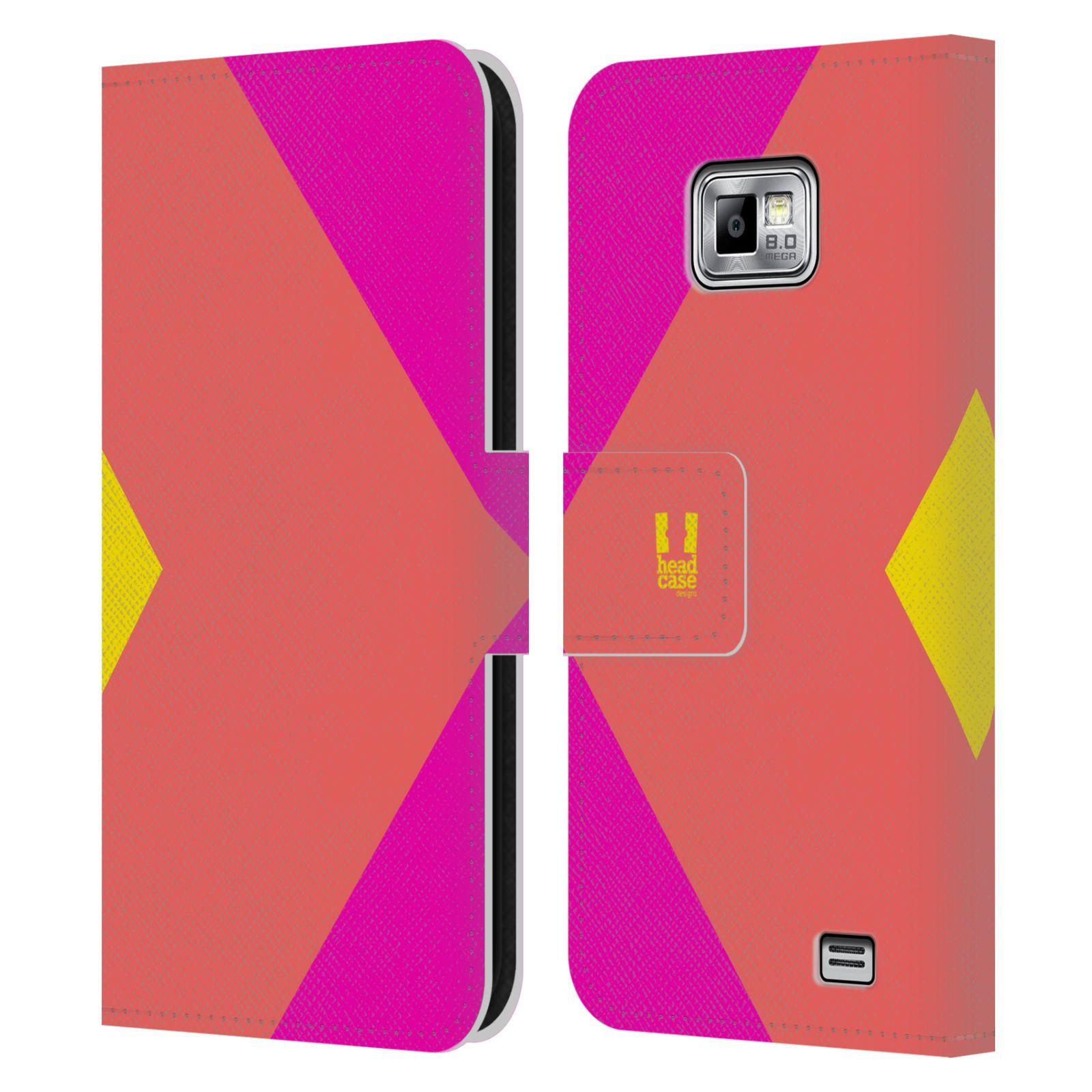 HEAD CASE Flipové pouzdro pro mobil Samsung Galaxy S2 i9100 barevné tvary růžová korál