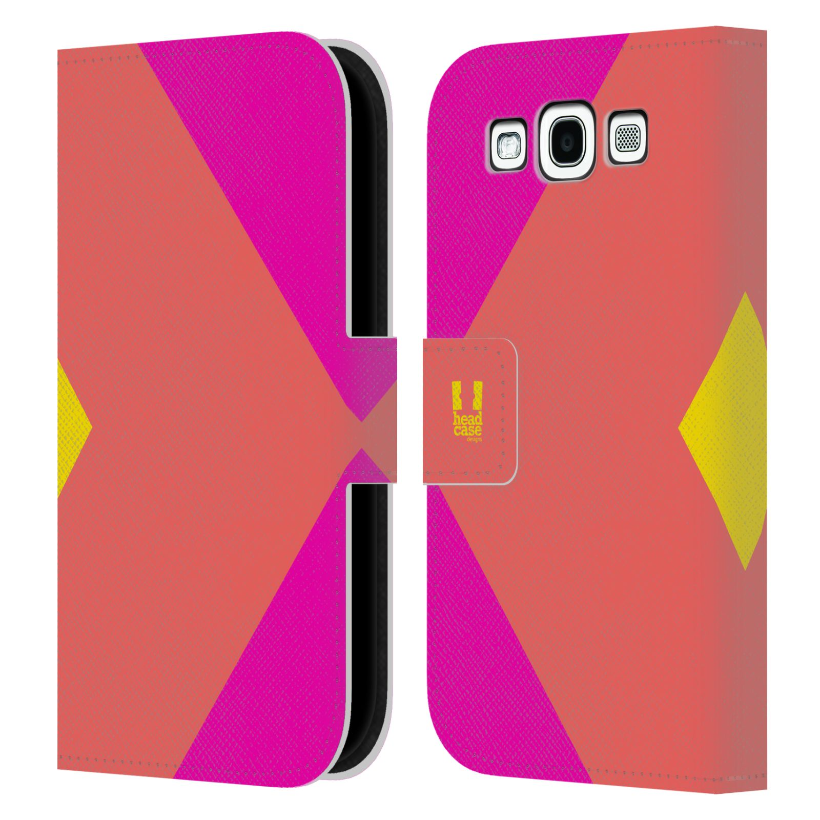 HEAD CASE Flipové pouzdro pro mobil Samsung Galaxy S3 I9300 barevné tvary růžová korál