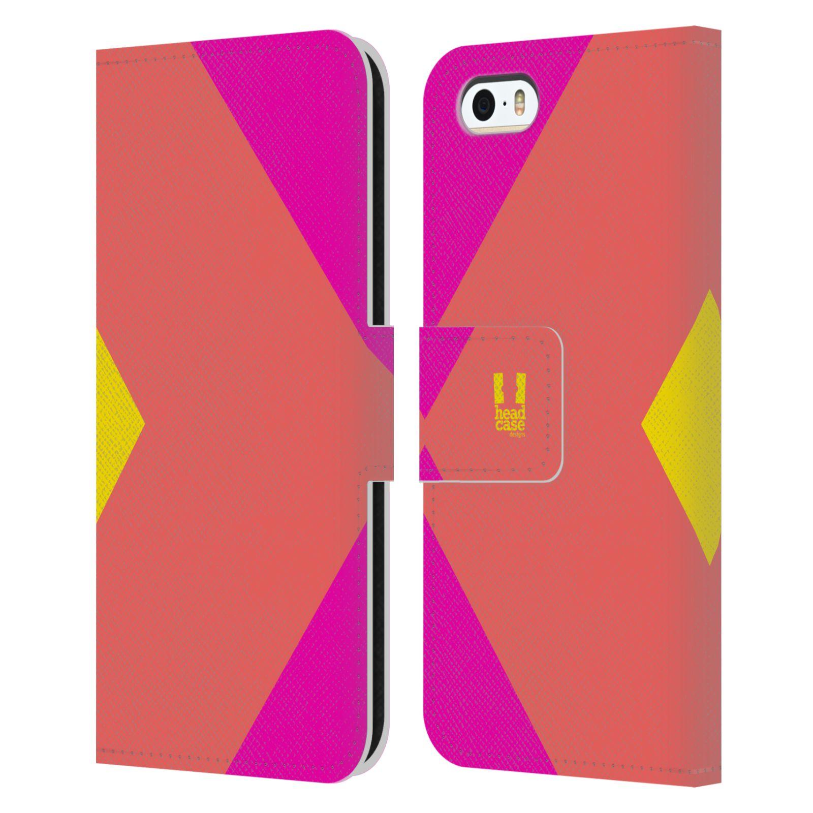 HEAD CASE Flipové pouzdro pro mobil Apple Iphone 5/5S barevné tvary růžová korál