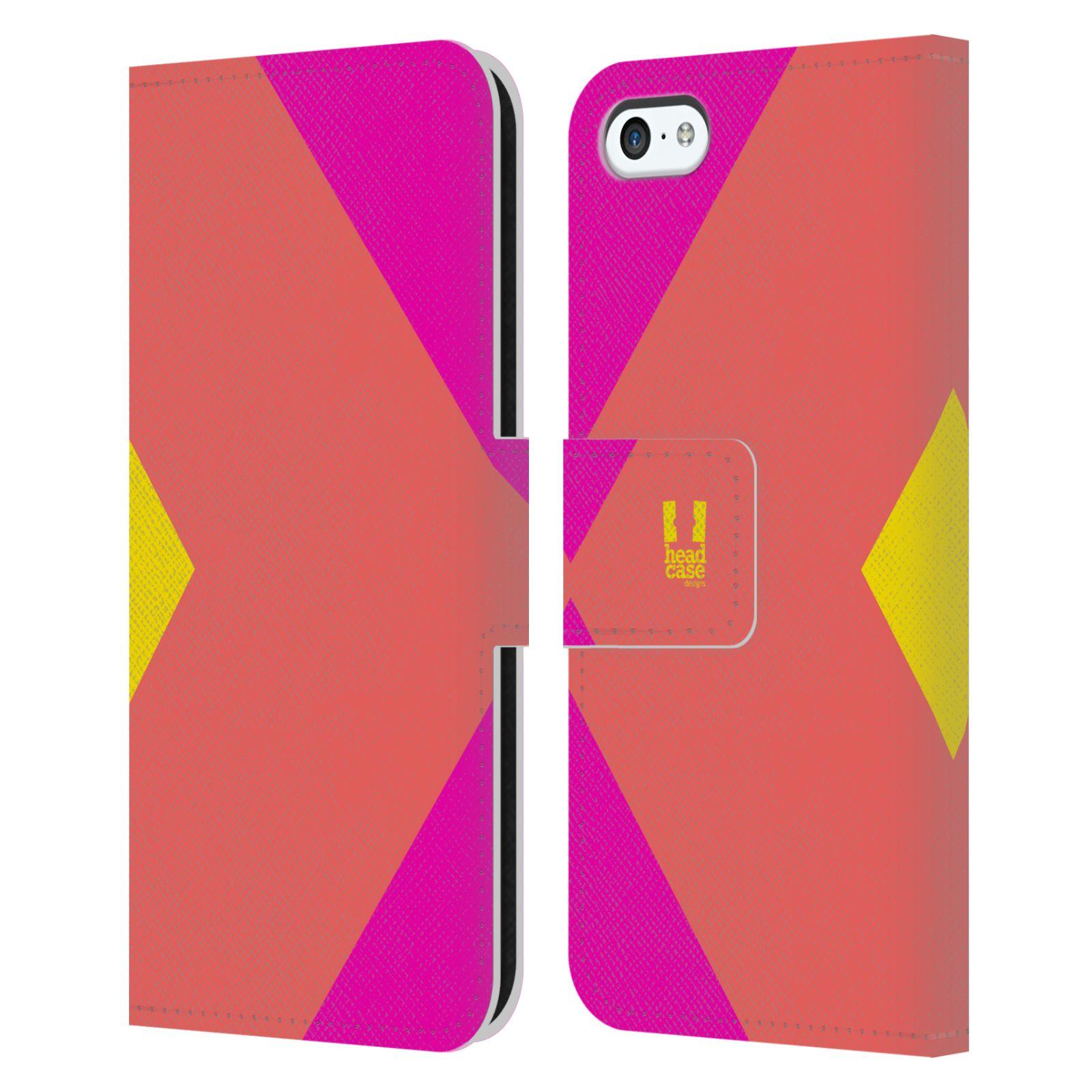 HEAD CASE Flipové pouzdro pro mobil Apple Iphone 5C barevné tvary růžová korál