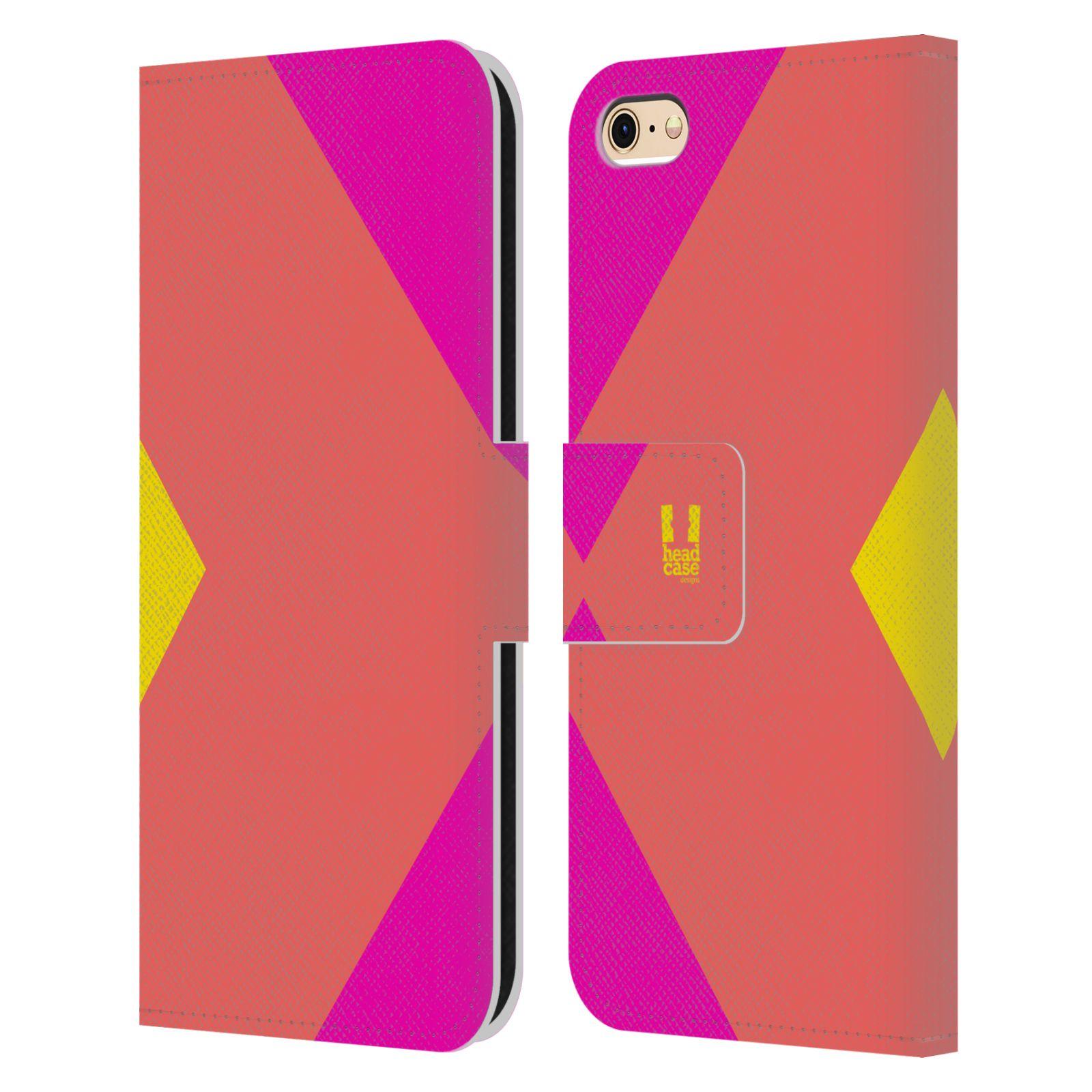 HEAD CASE Flipové pouzdro pro mobil Apple Iphone 6/6s barevné tvary růžová korál
