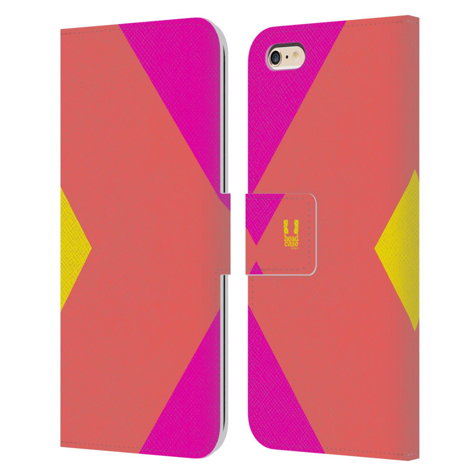HEAD CASE Flipové pouzdro pro mobil Apple Iphone 6 PLUS/6S PLUS barevné tvary růžová korál