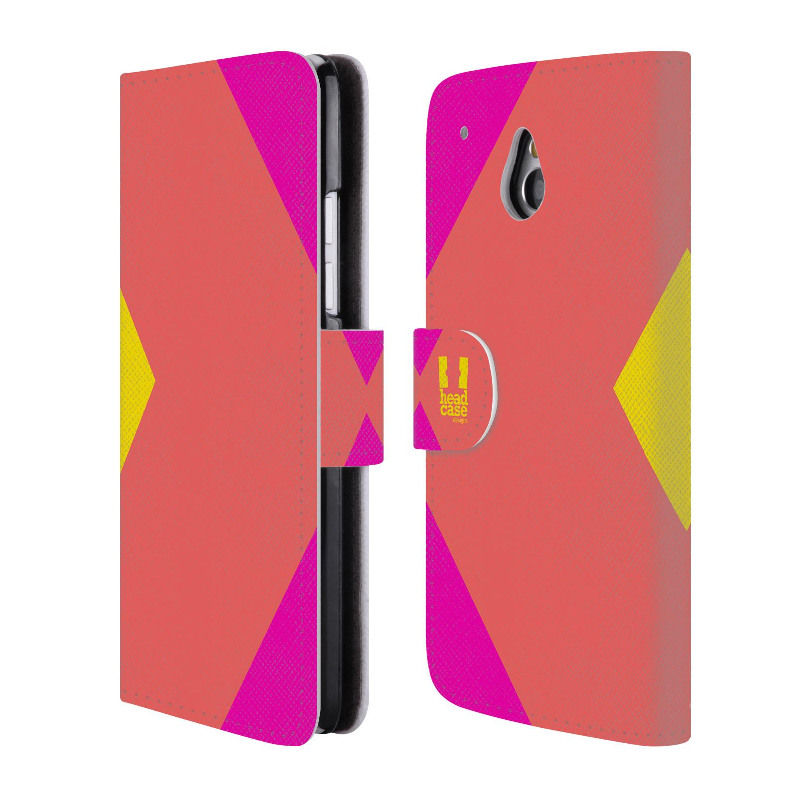 HEAD CASE Flipové pouzdro pro mobil HTC ONE MINI barevné tvary růžová korál