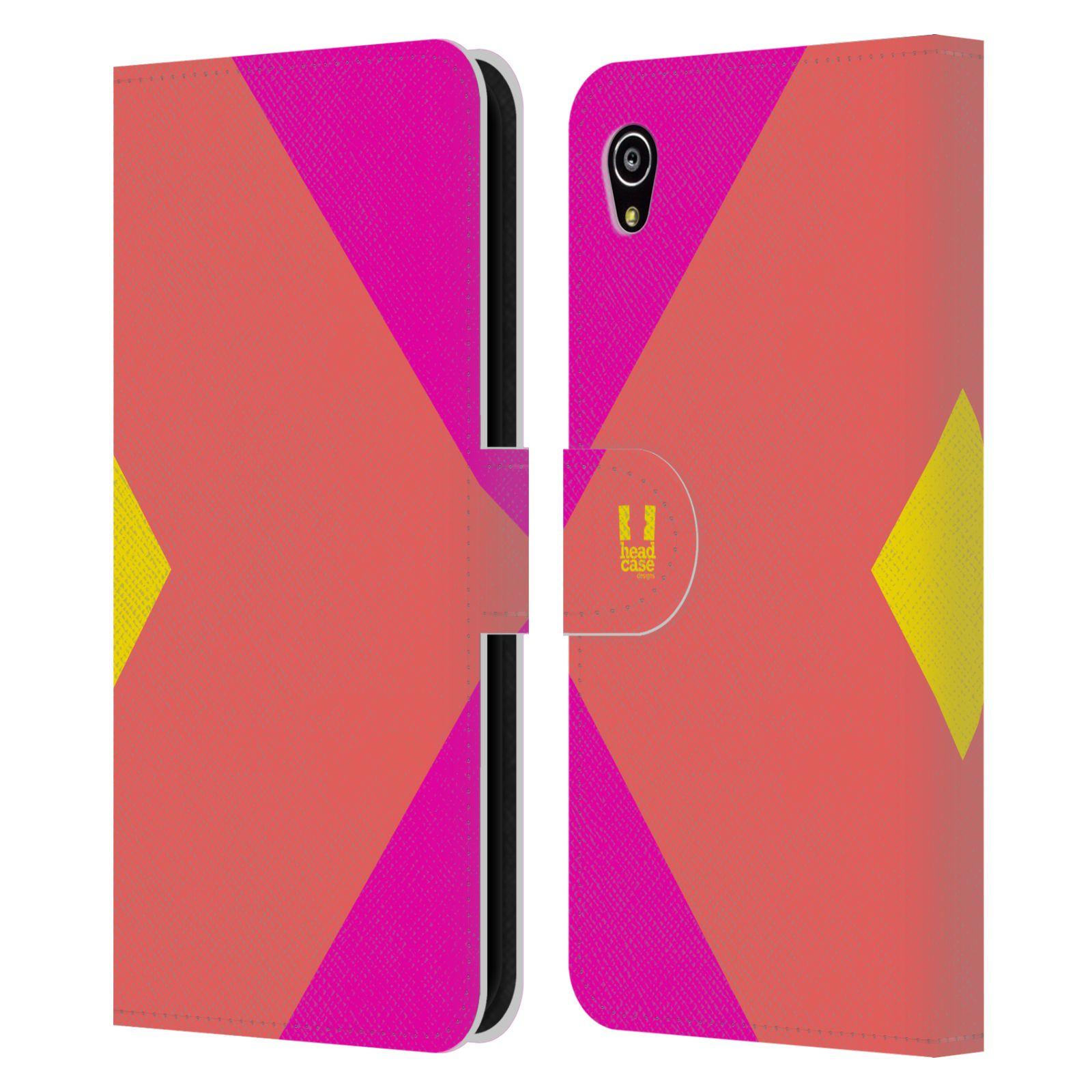 HEAD CASE Flipové pouzdro pro mobil SONY Xperia M4 Aqua barevné tvary růžová korál