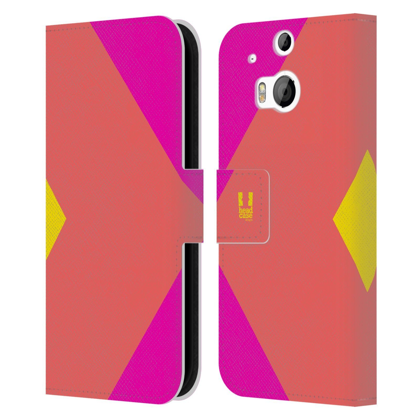 HEAD CASE Flipové pouzdro pro mobil HTC ONE M8/M8s barevné tvary růžová korál