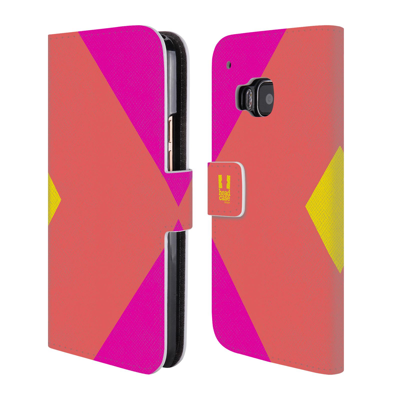 HEAD CASE Flipové pouzdro pro mobil HTC ONE M9 barevné tvary růžová korál