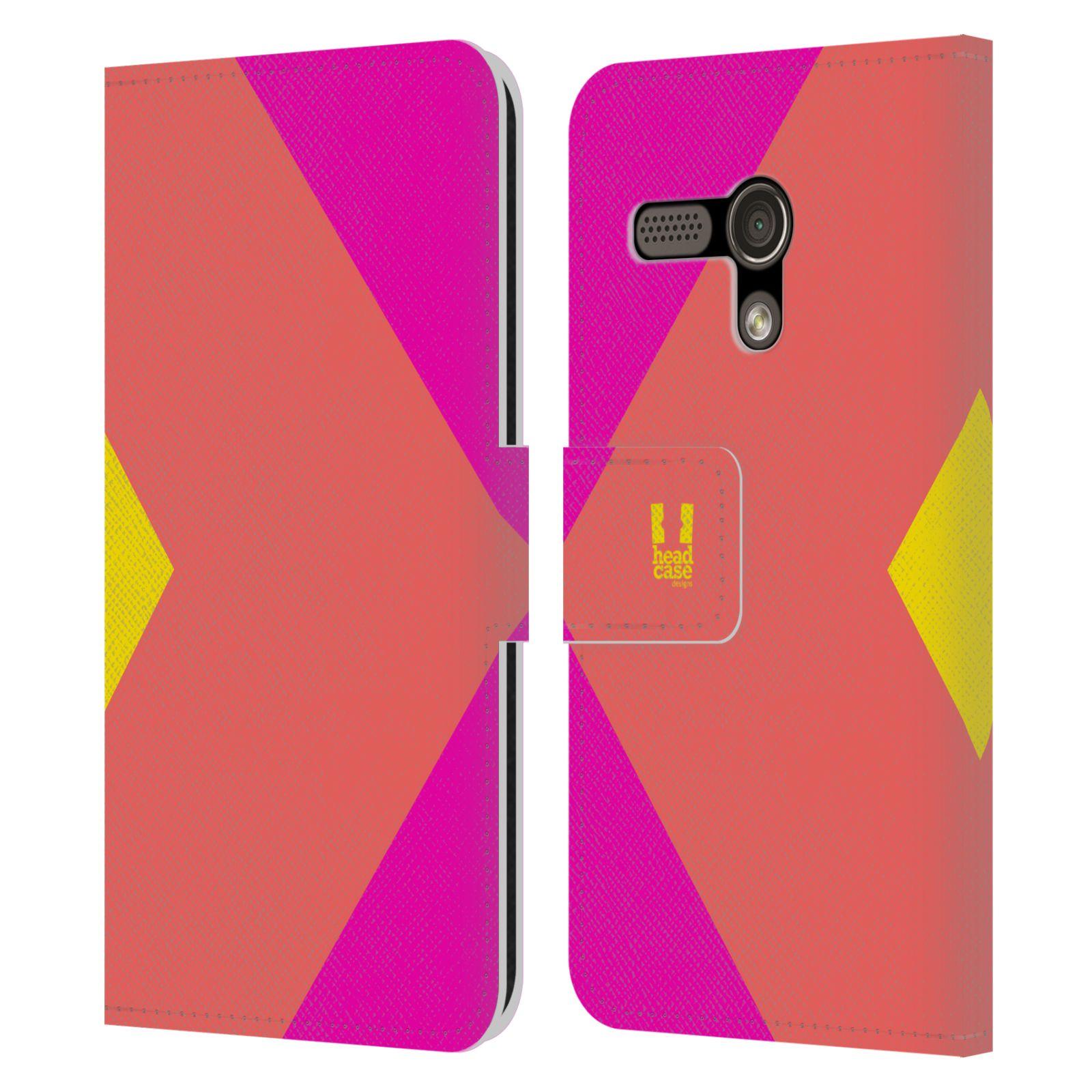 HEAD CASE Flipové pouzdro pro mobil Motorola MOTO G barevné tvary růžová korál