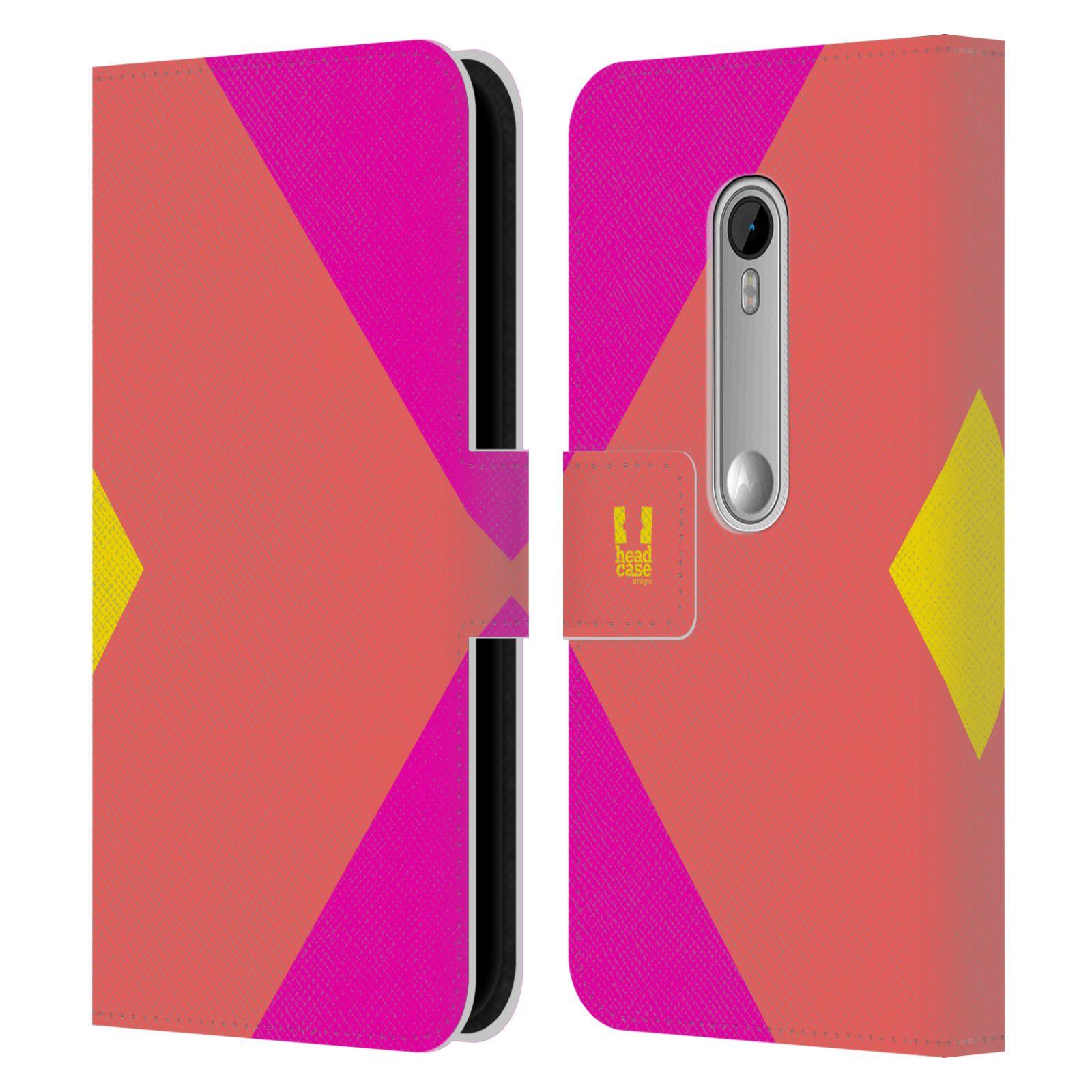 HEAD CASE Flipové pouzdro pro mobil Motorola MOTO G 3RD GENERATION barevné tvary růžová korál