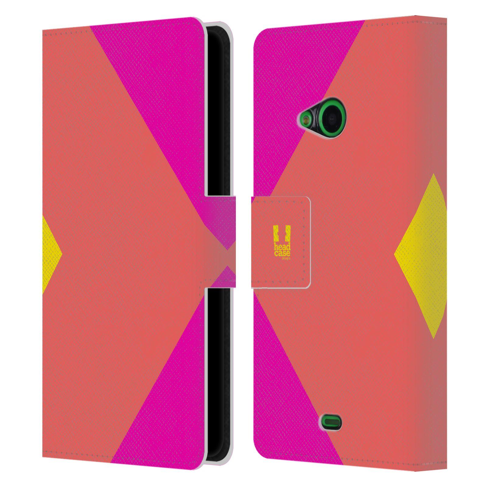 HEAD CASE Flipové pouzdro pro mobil Nokia LUMIA 535 barevné tvary růžová korál