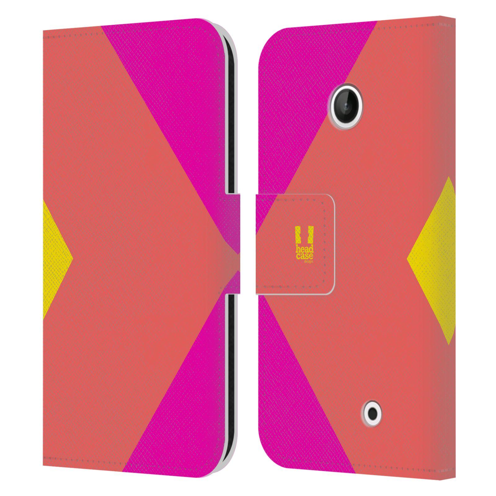 HEAD CASE Flipové pouzdro pro mobil Nokia LUMIA 630/630 DUAL barevné tvary růžová korál