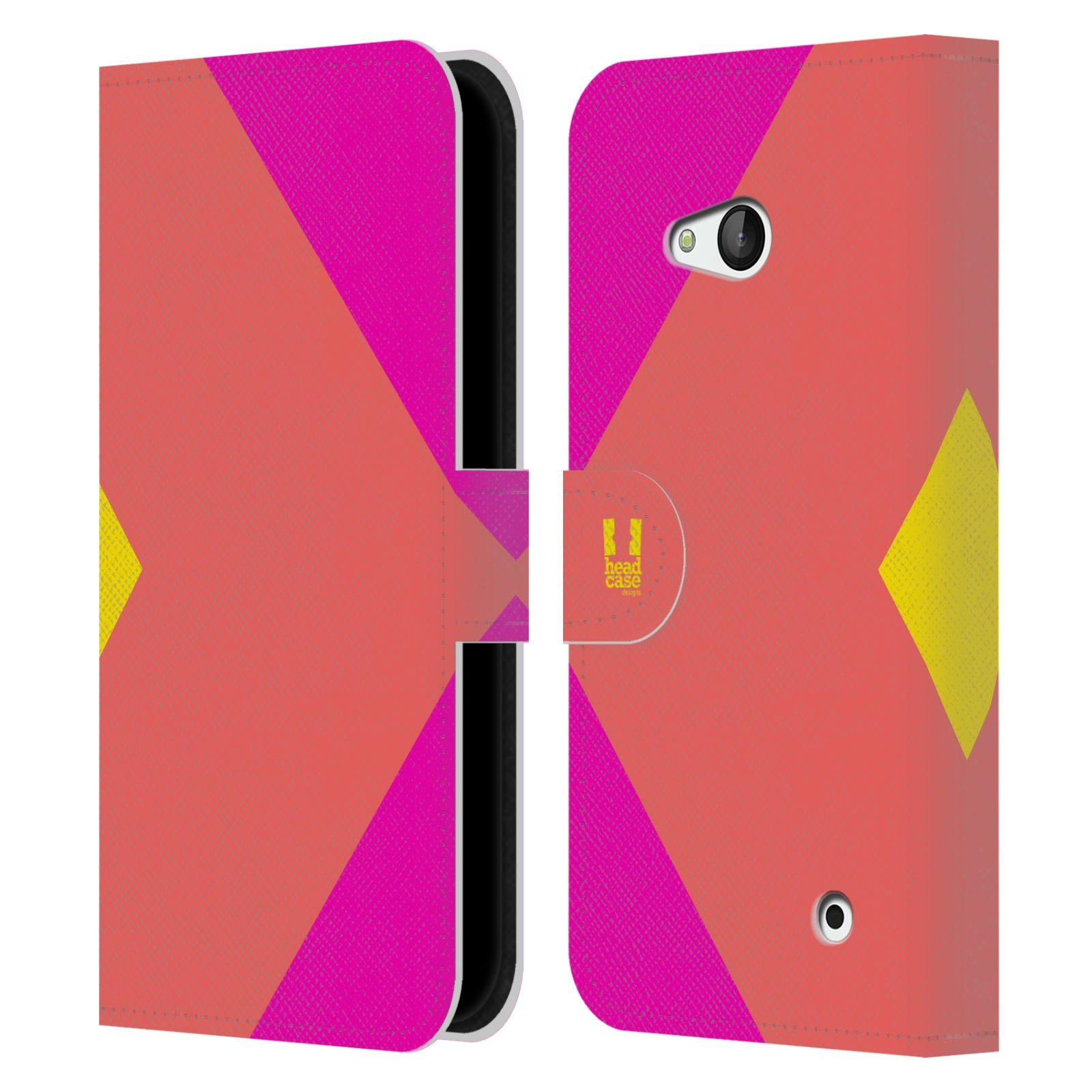 HEAD CASE Flipové pouzdro pro mobil Nokia LUMIA 640 barevné tvary růžová korál