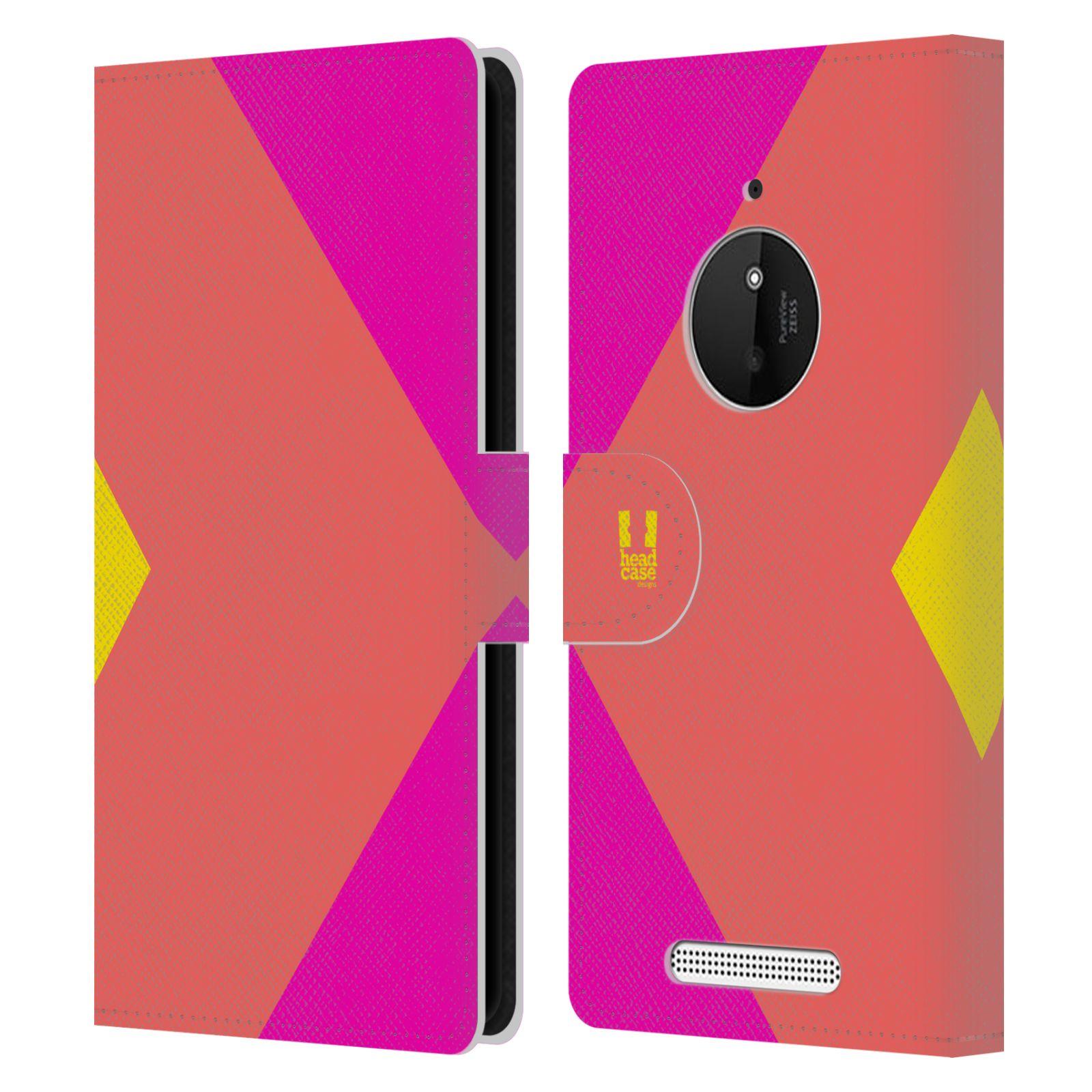 HEAD CASE Flipové pouzdro pro mobil Nokia LUMIA 830 barevné tvary růžová korál
