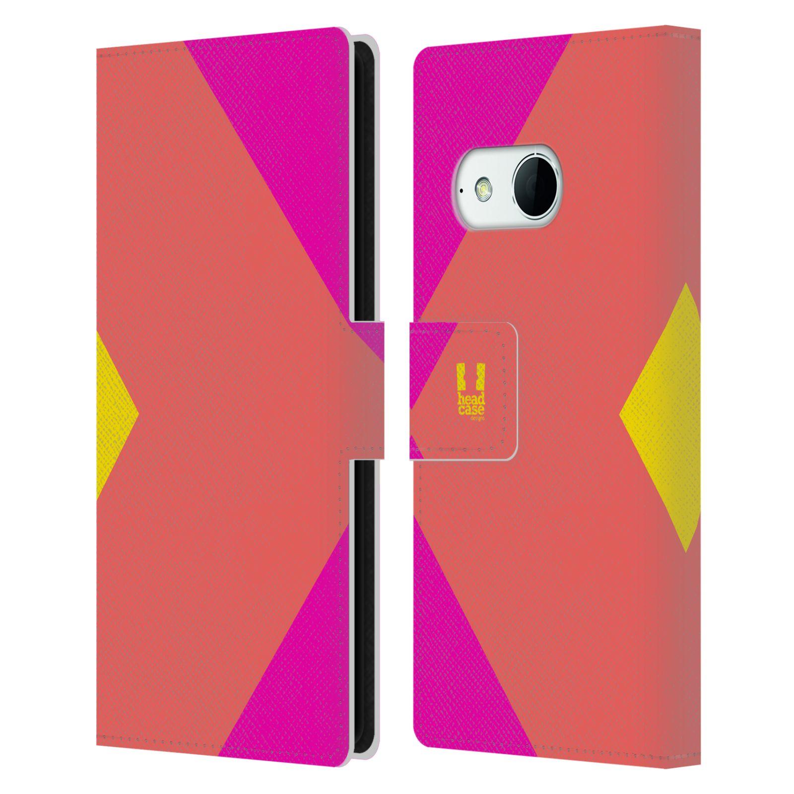 HEAD CASE Flipové pouzdro pro mobil HTC ONE MINI 2 barevné tvary růžová korál
