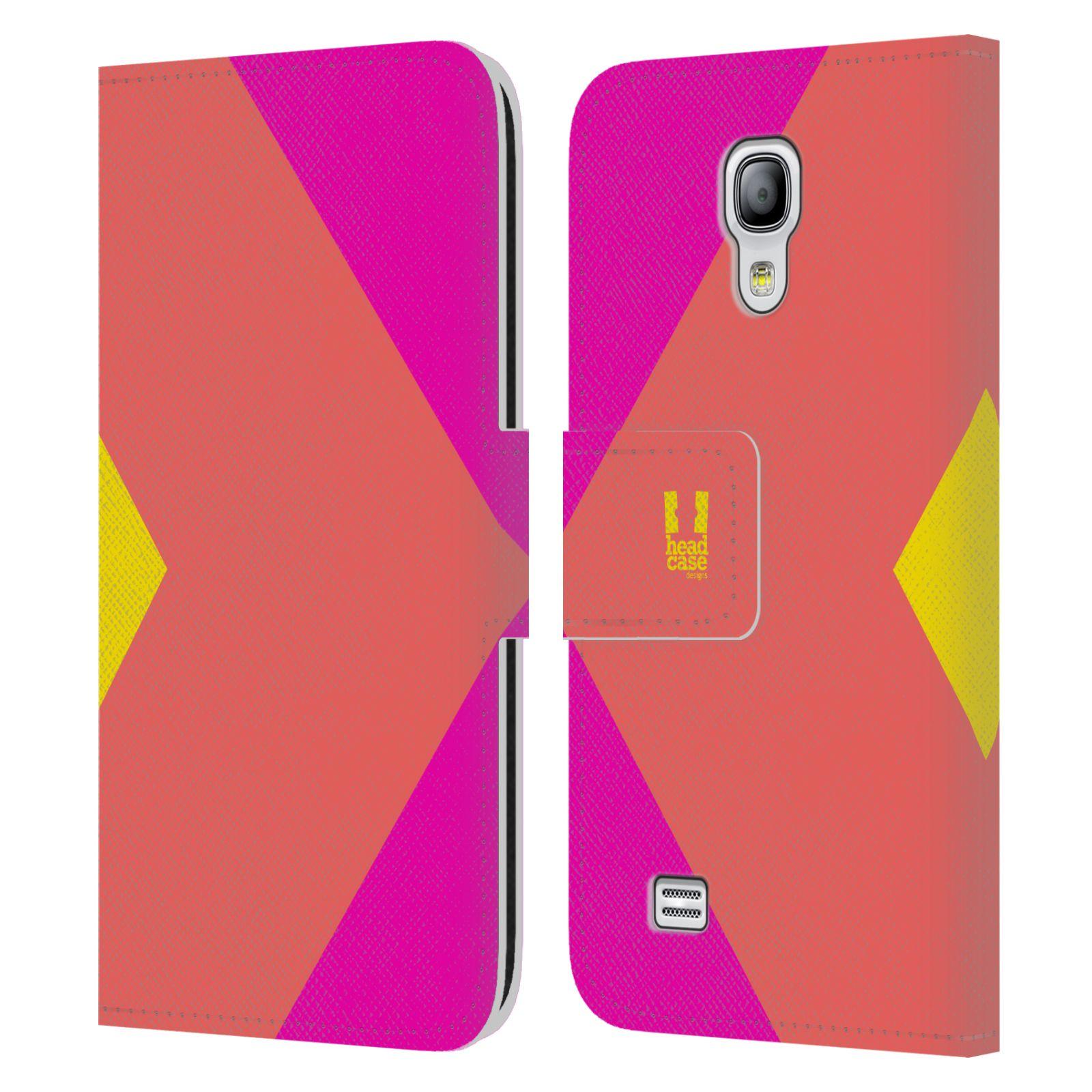 HEAD CASE Flipové pouzdro pro mobil Samsung Galaxy S4 MINI barevné tvary růžová korál