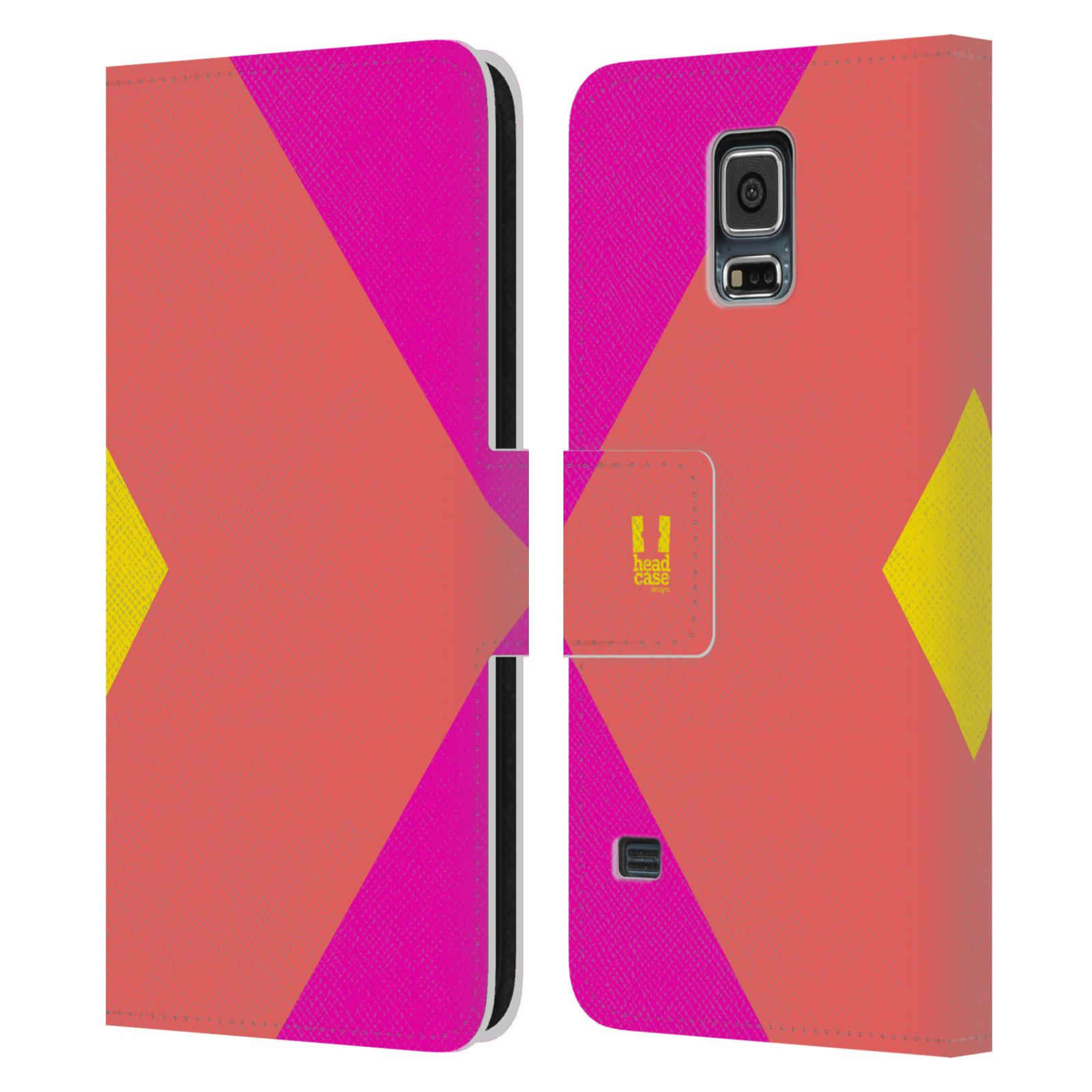 HEAD CASE Flipové pouzdro pro mobil Samsung Galaxy S5 barevné tvary růžová korál