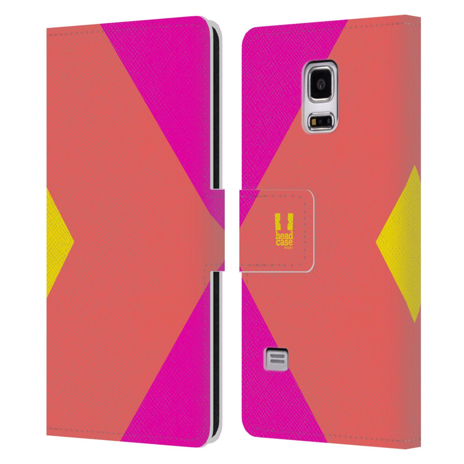 HEAD CASE Flipové pouzdro pro mobil Samsung Galaxy S5 MINI barevné tvary růžová korál