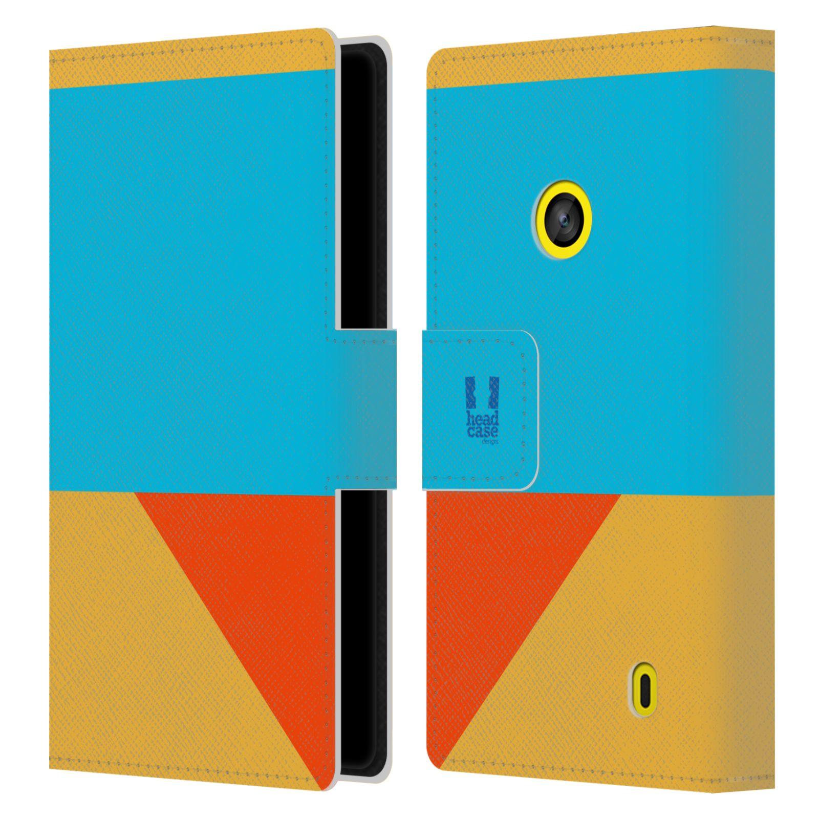 HEAD CASE Flipové pouzdro pro mobil Nokia LUMIA 520/525 barevné tvary béžová a modrá DAY WEAR