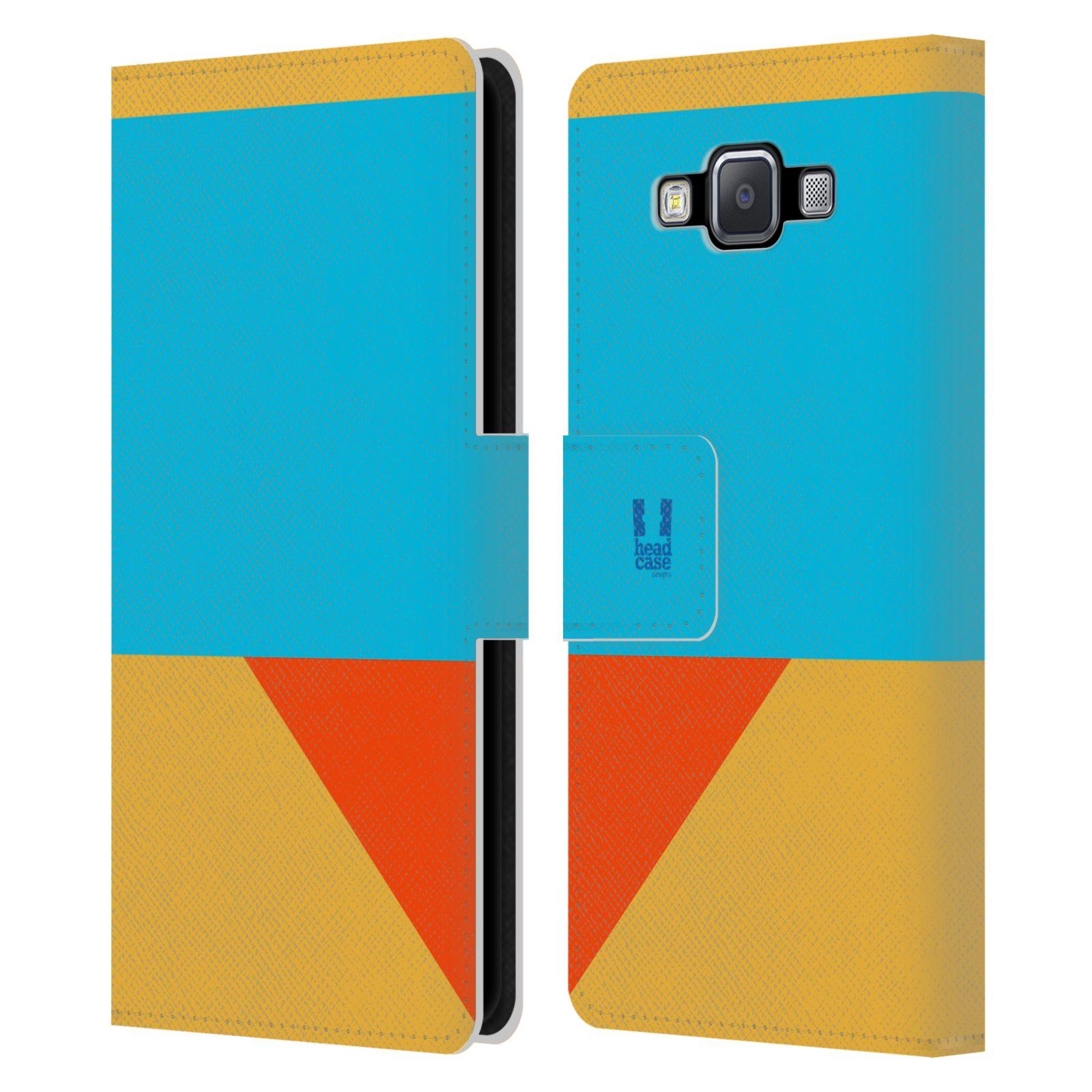 HEAD CASE Flipové pouzdro pro mobil Samsung Galaxy A5 barevné tvary béžová a modrá DAY WEAR