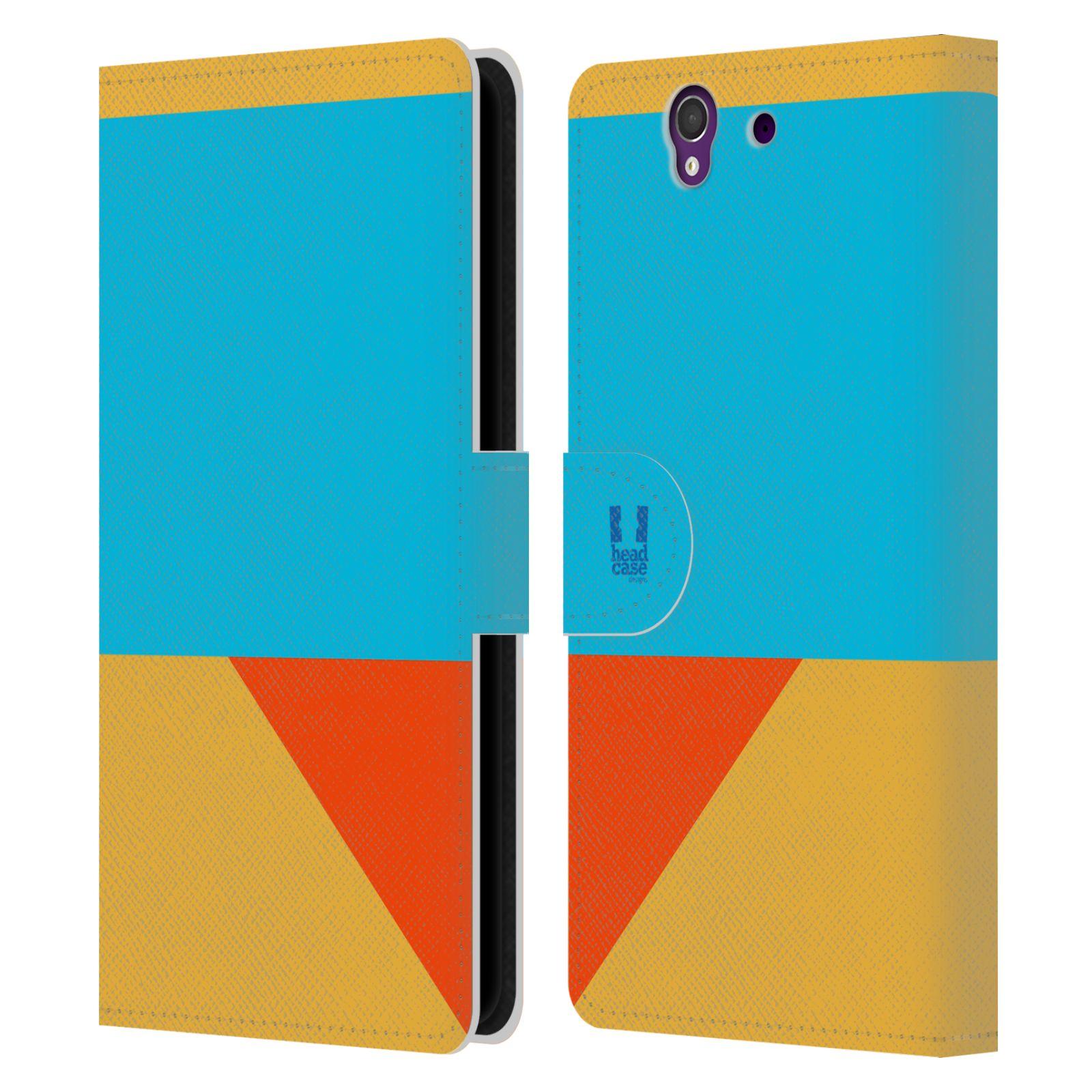 HEAD CASE Flipové pouzdro pro mobil SONY Xperia Z barevné tvary béžová a modrá DAY WEAR
