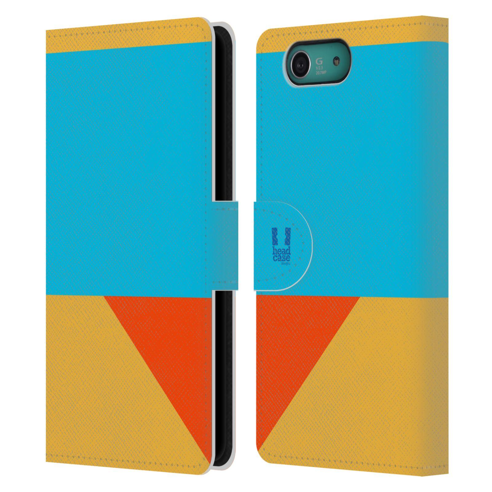 HEAD CASE Flipové pouzdro pro mobil SONY XPERIA Z3 COMPACT barevné tvary béžová a modrá DAY WEAR